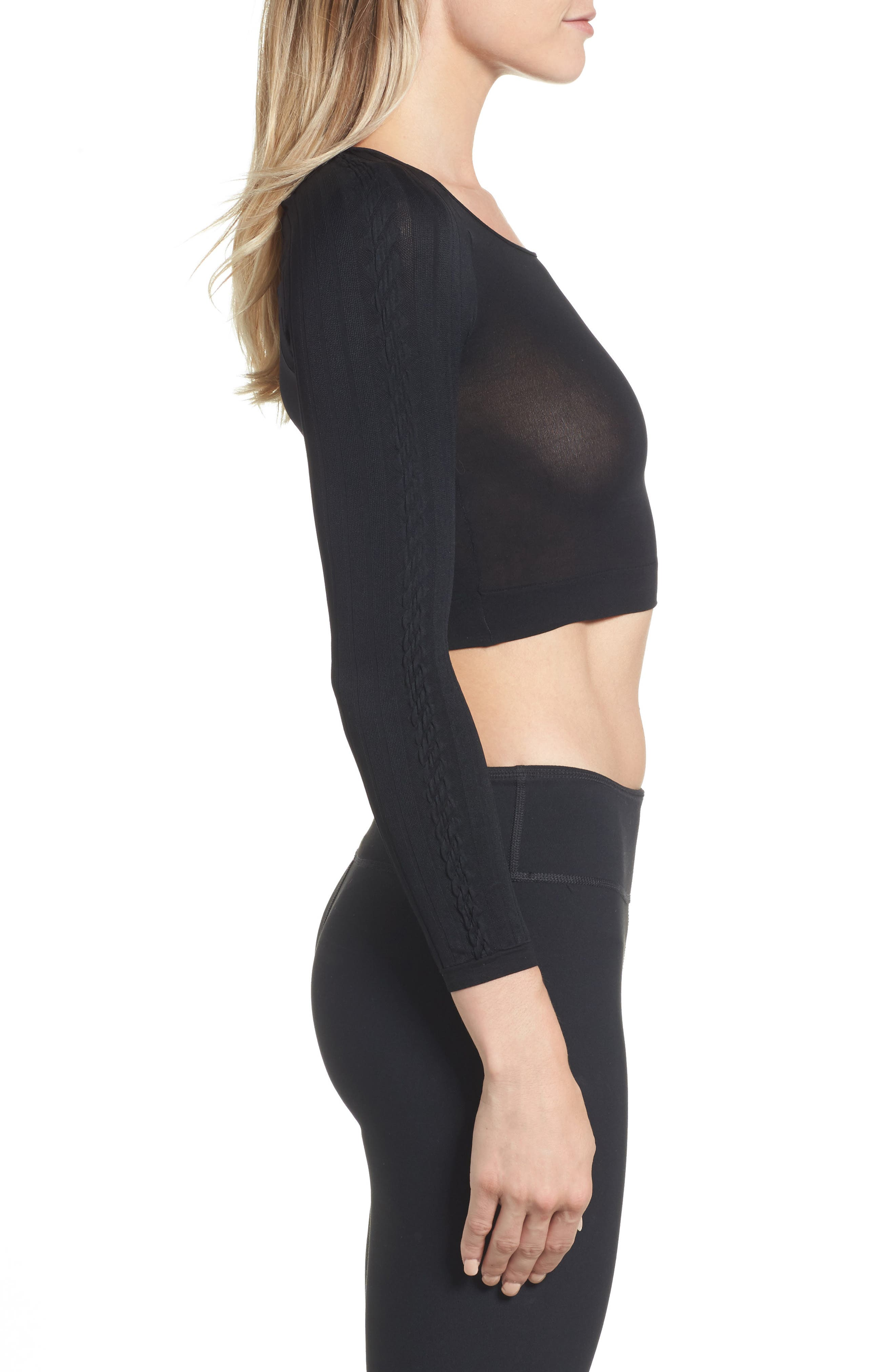 SPANX Arm Tights<sup>™</sup> Cable Layering Top,                             Alternate thumbnail 3, color,                             Black Cable