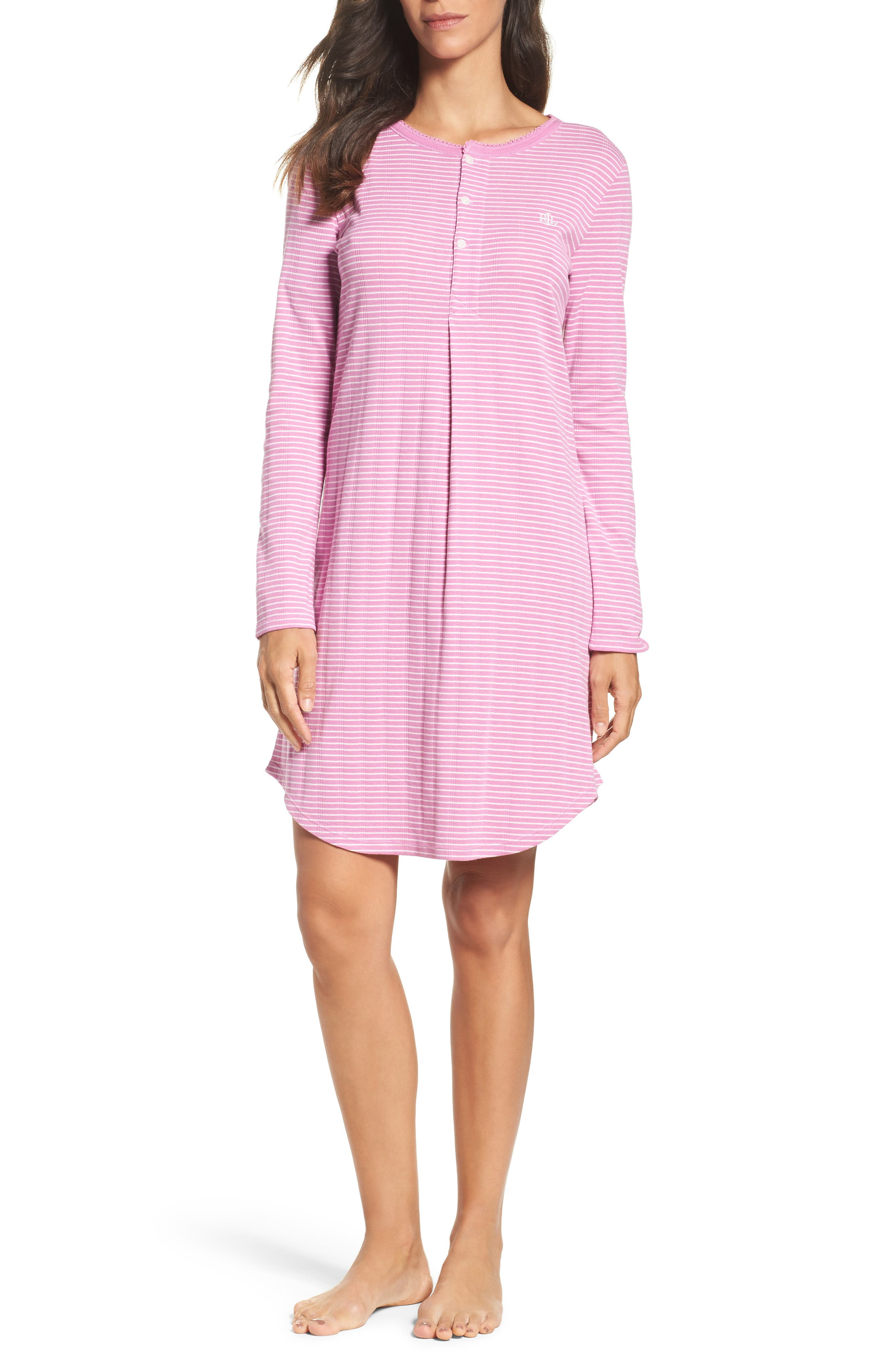 Stripe Henley Sleep Shirt,                         Main,                         color, Pink/ White Stripe