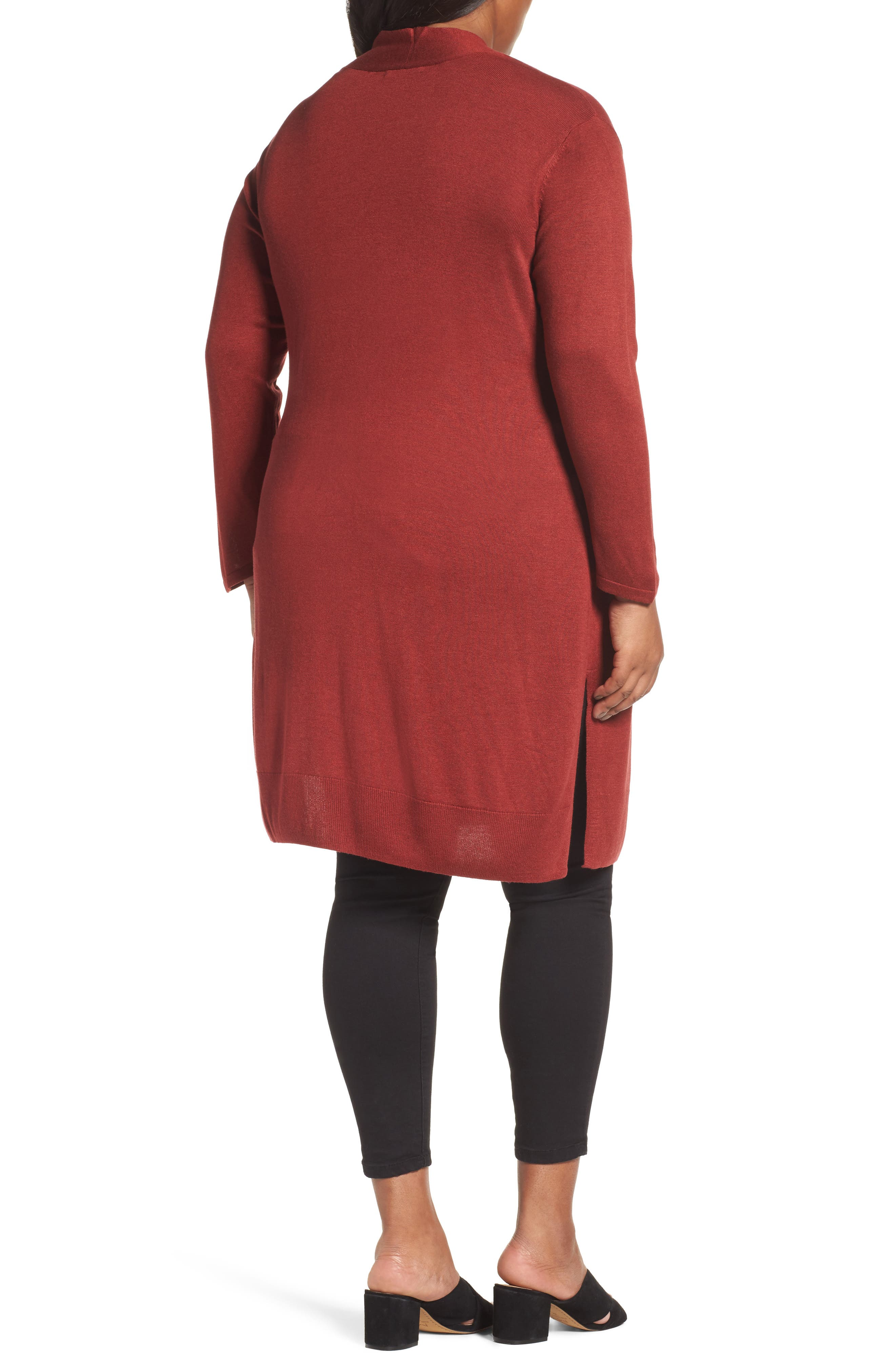 Alternate Image 2  - NIC+ZOE Silk Blend Trench Cardigan (Plus Size)