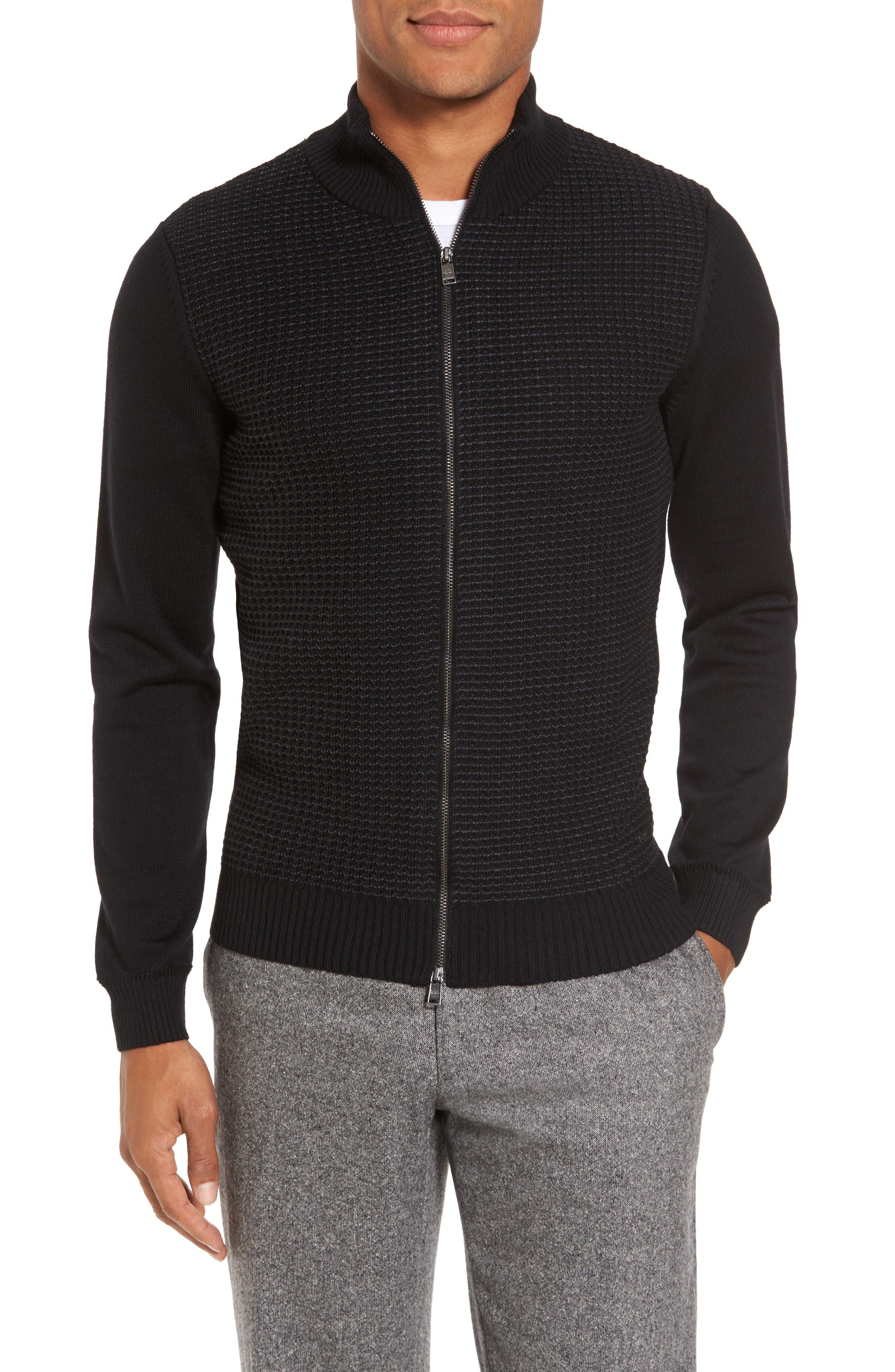 Alternate Image 1 Selected - BOSS Bacco Full Zip Wool Sweater Jacket