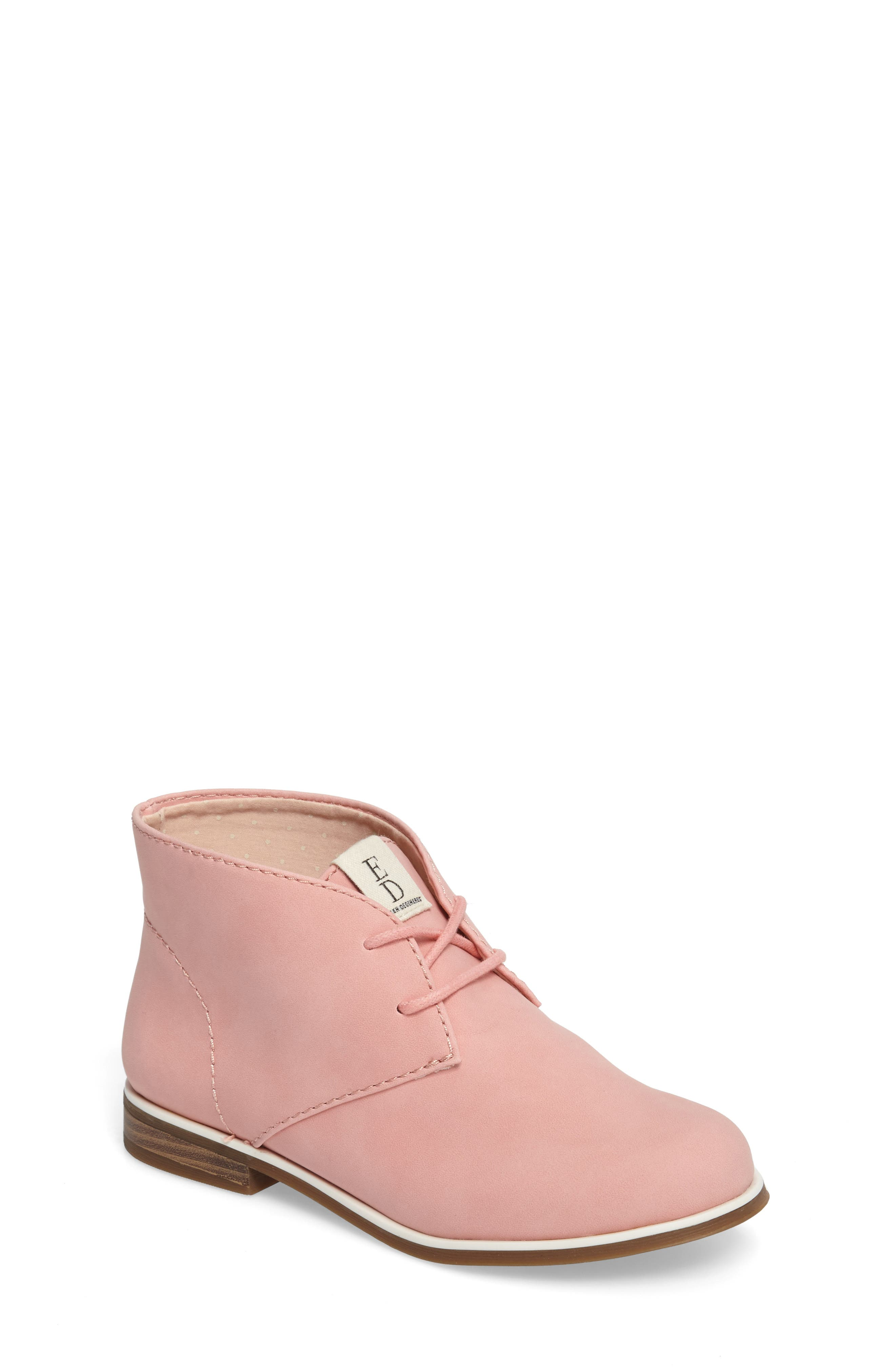 Korie Chukka Bootie,                         Main,                         color, Poppy Pink Suede
