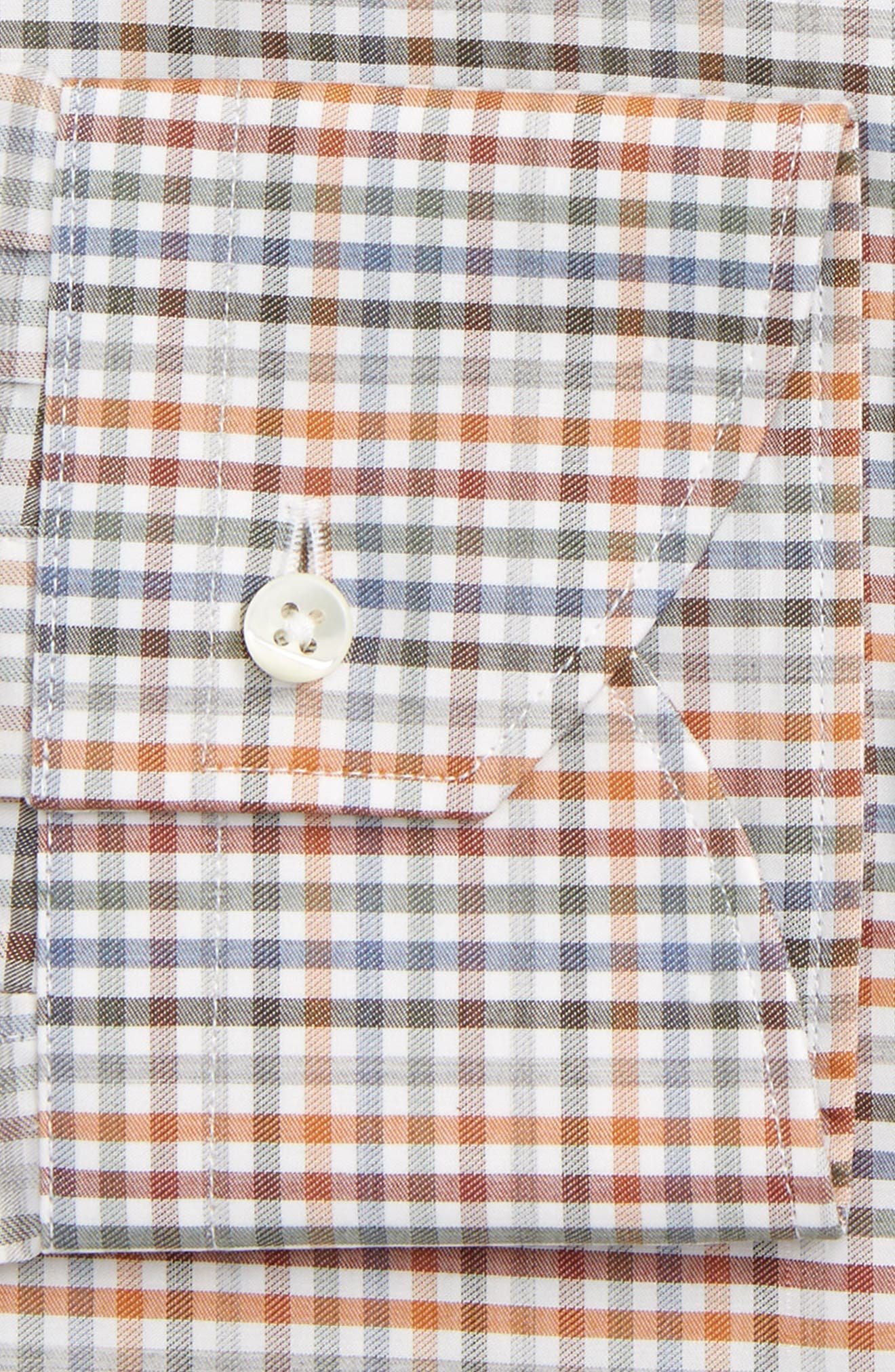 Regular Fit Check Dress Shirt,                             Alternate thumbnail 2, color,                             Orange/ Green
