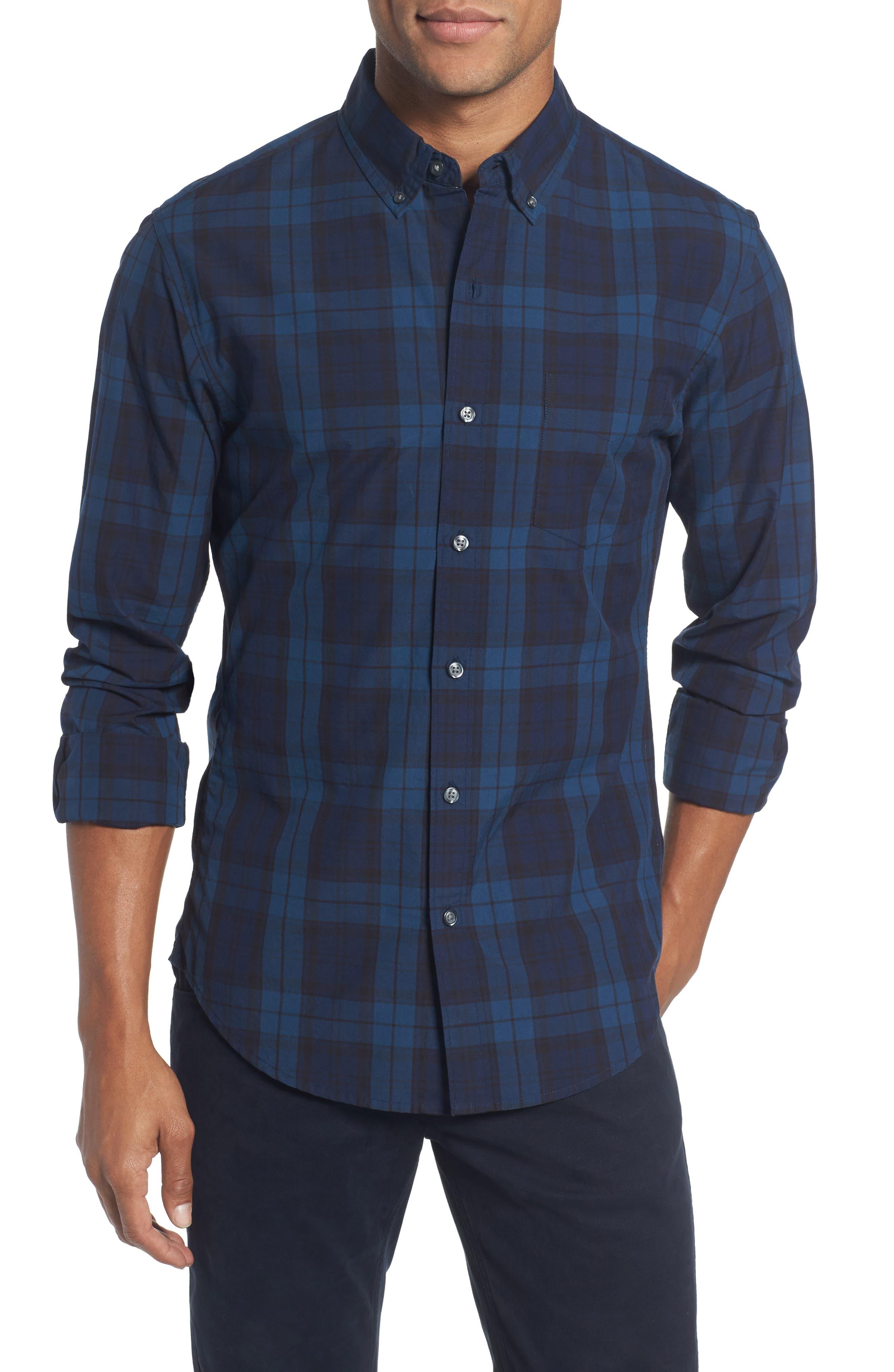 Slim Fit Plaid Sport Shirt,                         Main,                         color, Hartford Blue Check