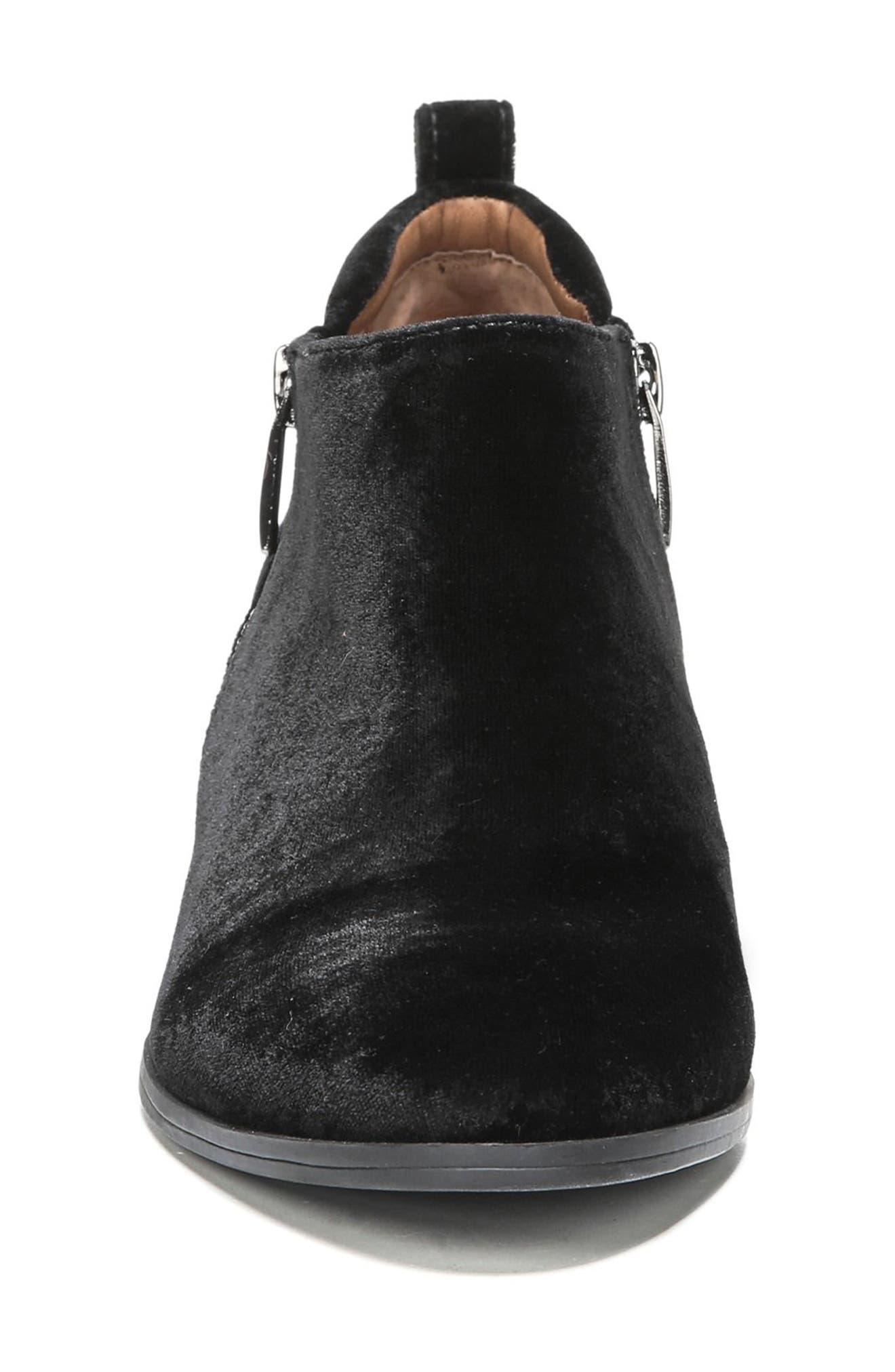 'Granite' Block Heel Bootie,                             Alternate thumbnail 4, color,                             Black Velvet