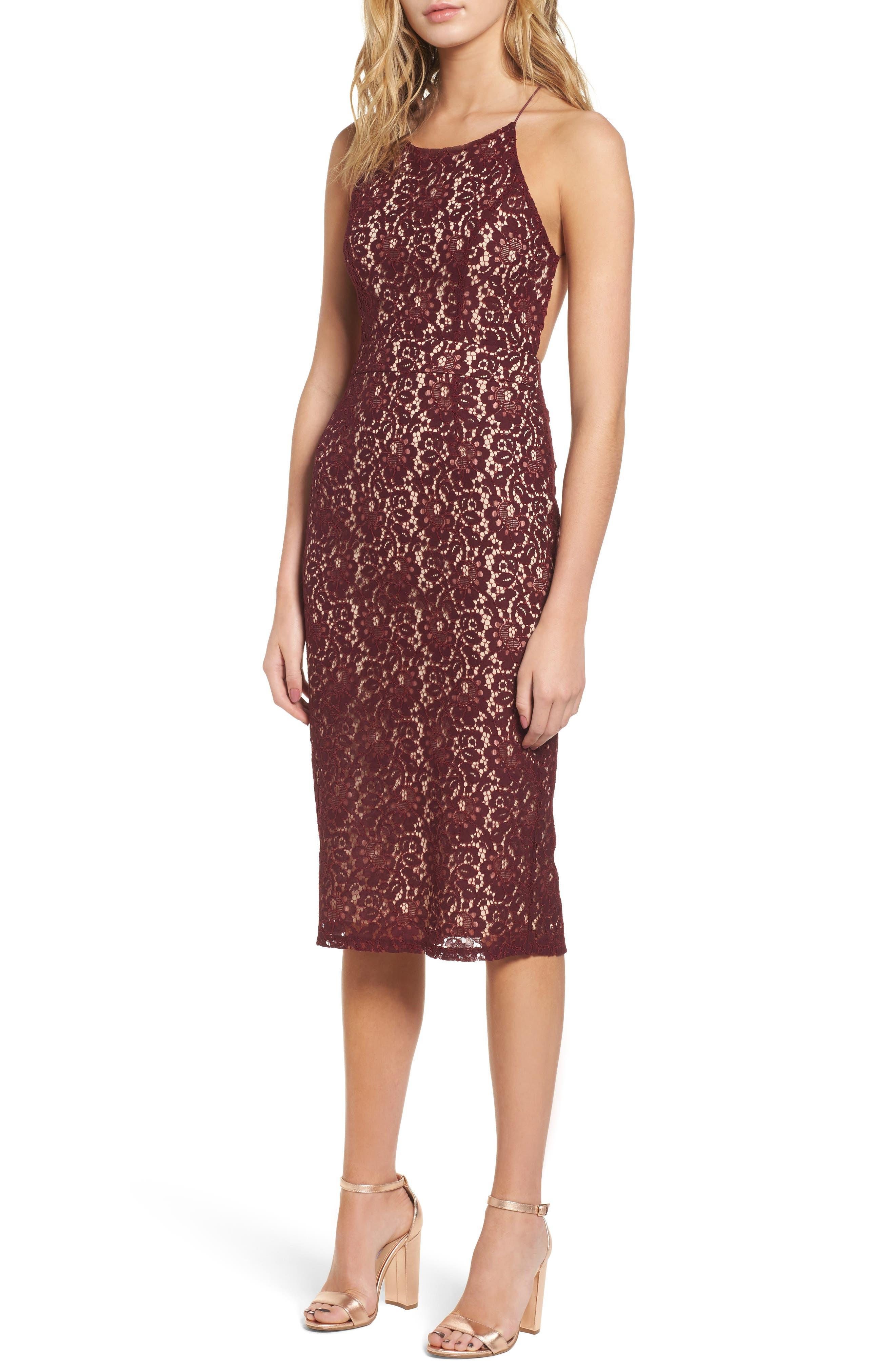Lace Halter Midi Dress,                             Main thumbnail 1, color,                             Wine
