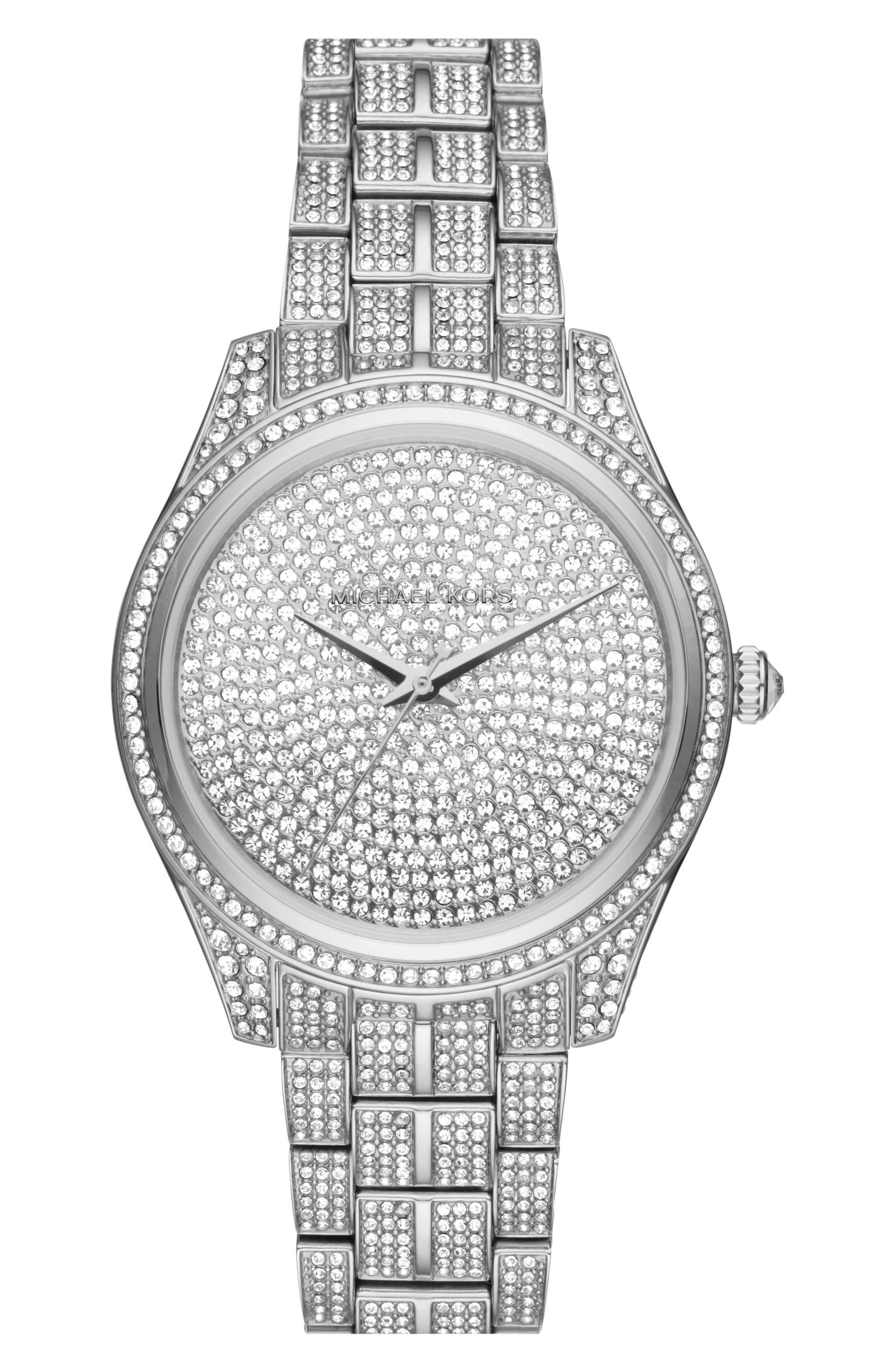 Main Image - Michael Kors Lauryn Pavé Crystal Bracelet Watch, 38mm