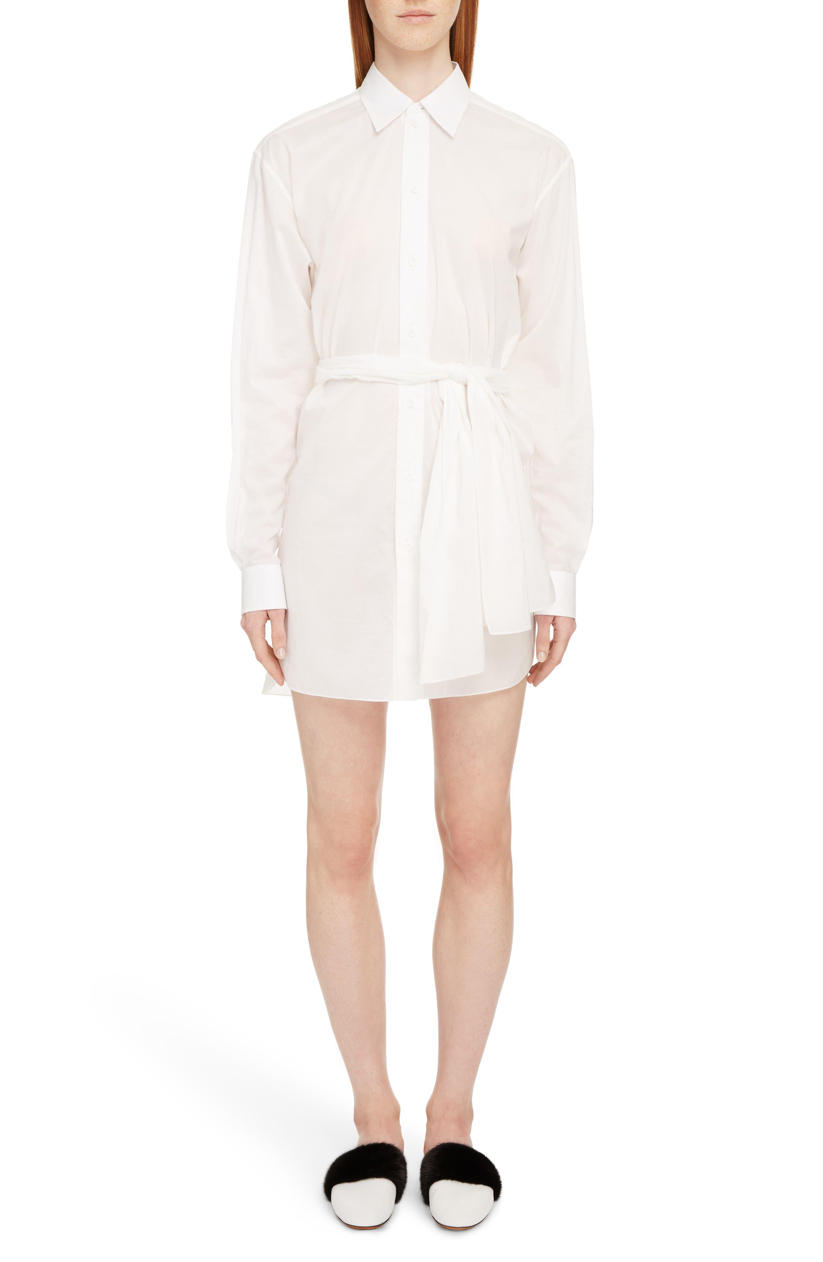 Tie Waist Poplin Shirtdress,                         Main,                         color, White