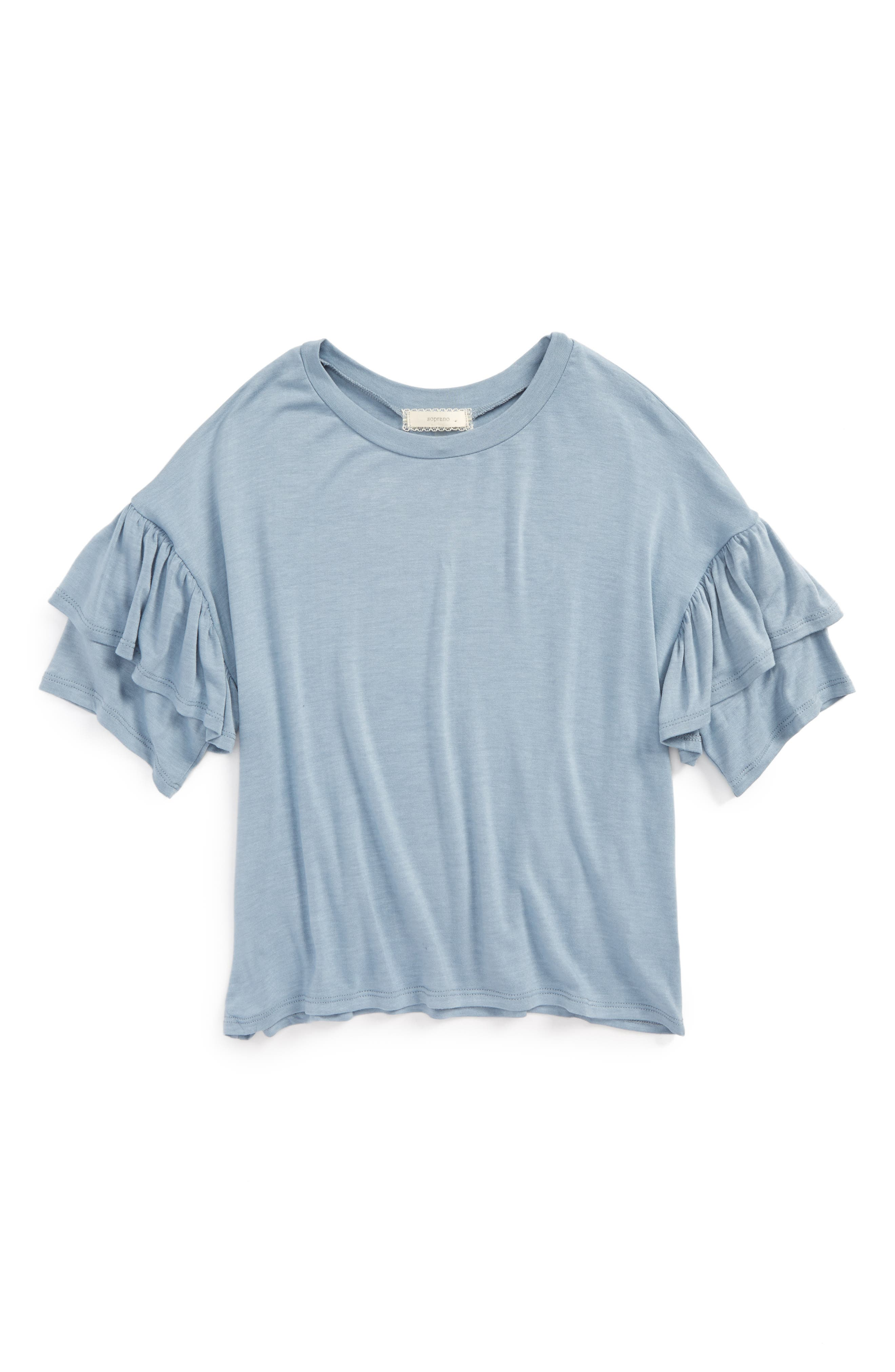 Soprano Ruffle Sleeve Tee (Big Girls)