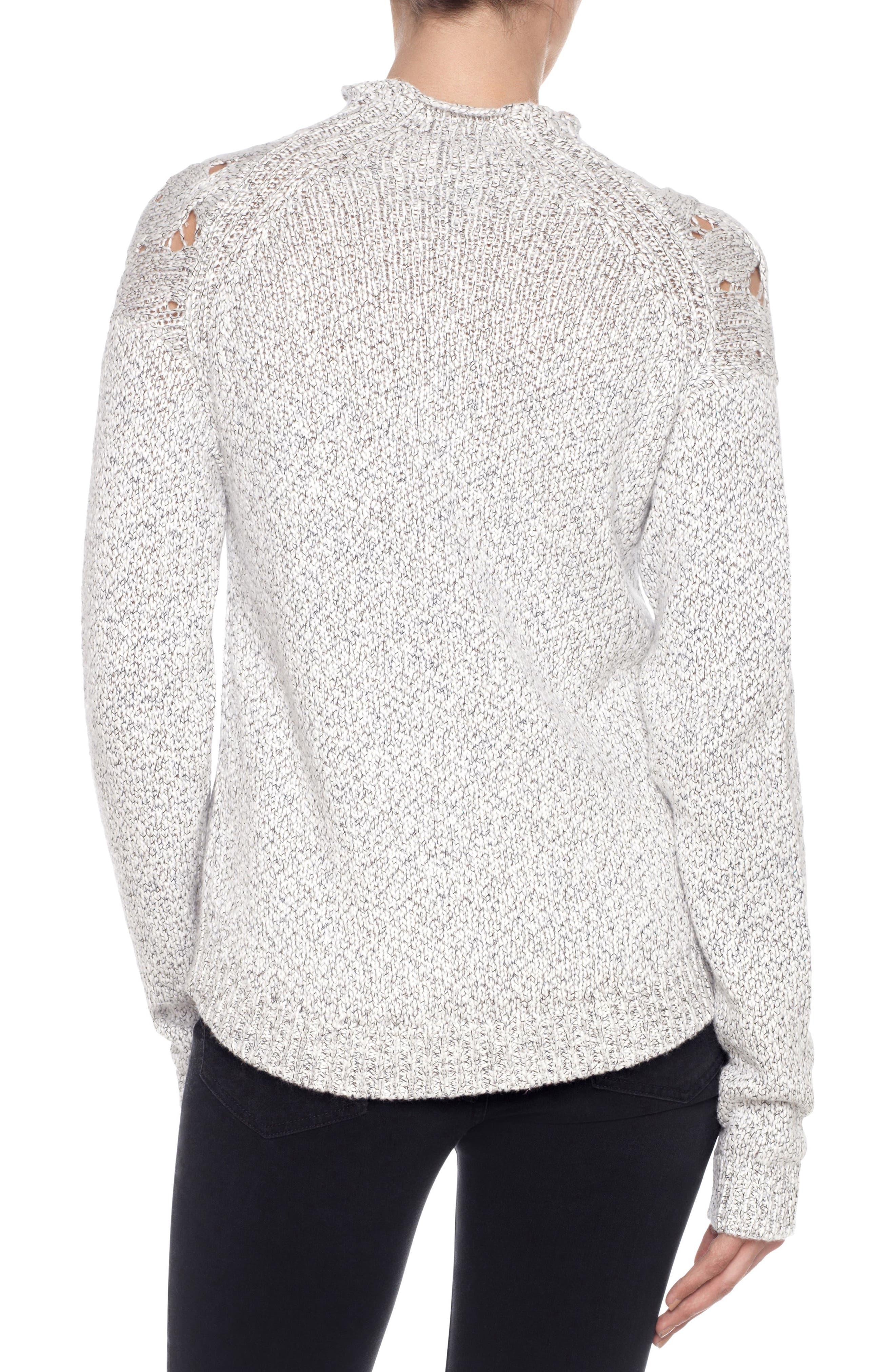 Aubree Roll Neck Sweater,                             Alternate thumbnail 2, color,                             White/ Black