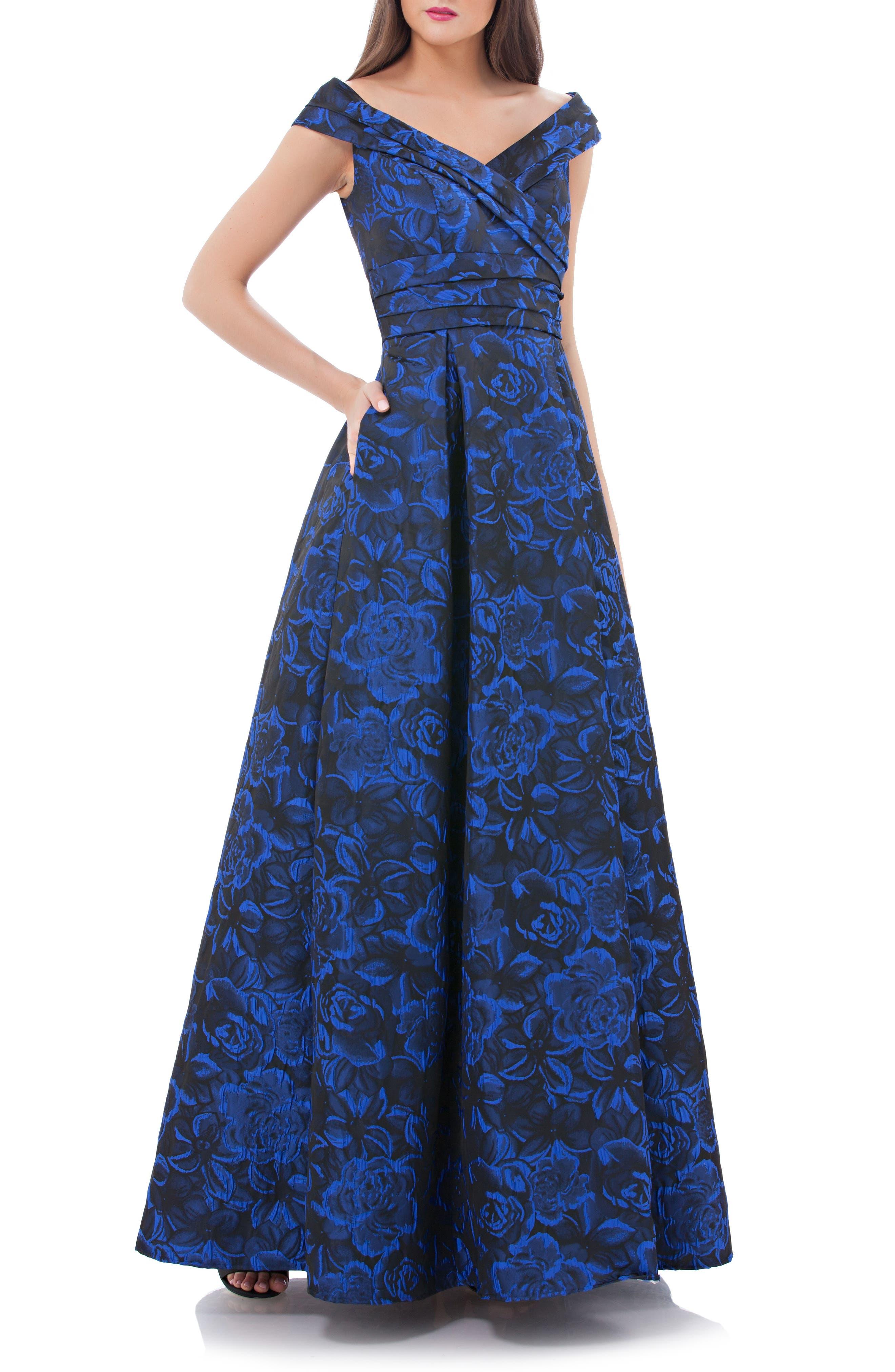 Rose Print Off the Shoulder Ballgown,                         Main,                         color, Blue/ Black