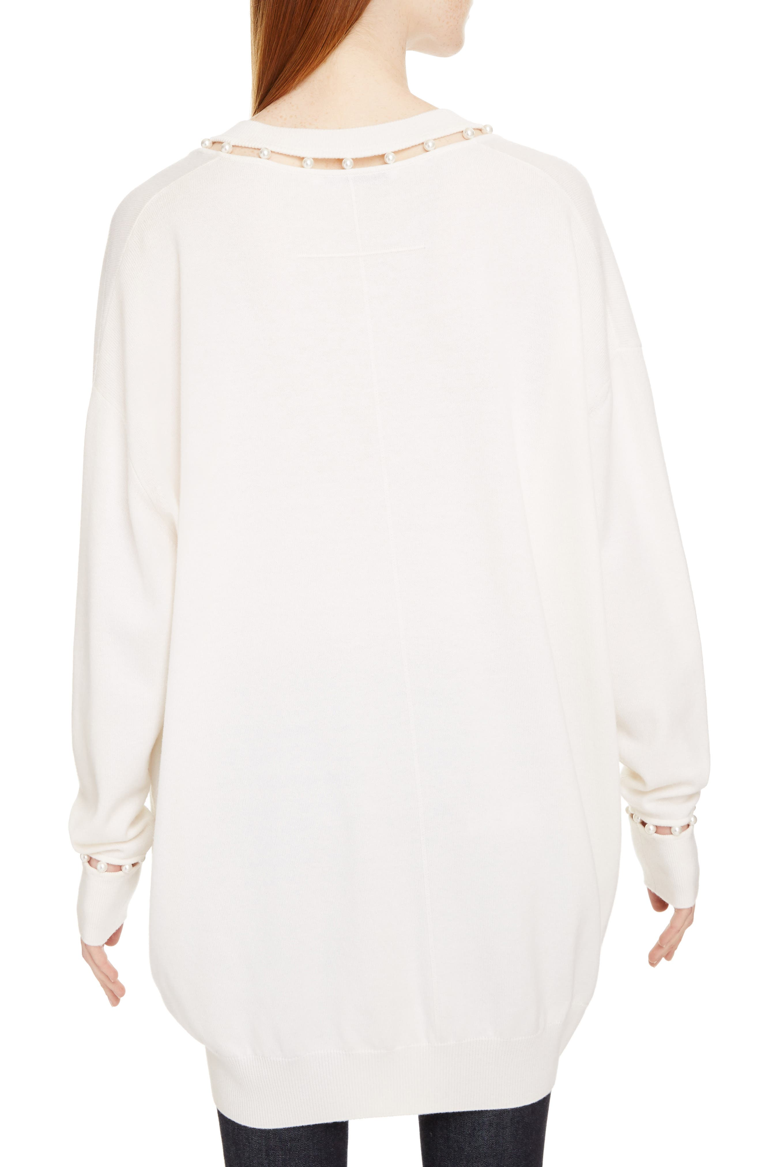 Imitation Pearl Embellished Cashmere & Wool Sweater,                             Alternate thumbnail 2, color,                             Off White