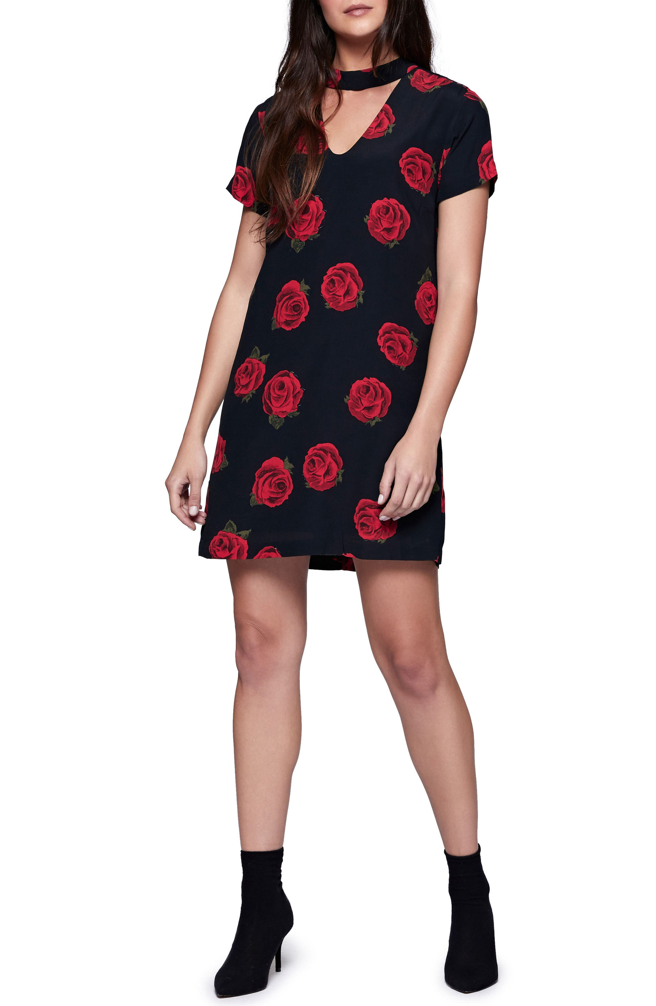 Madeline Choker Dress,                         Main,                         color, Paris Rose Black