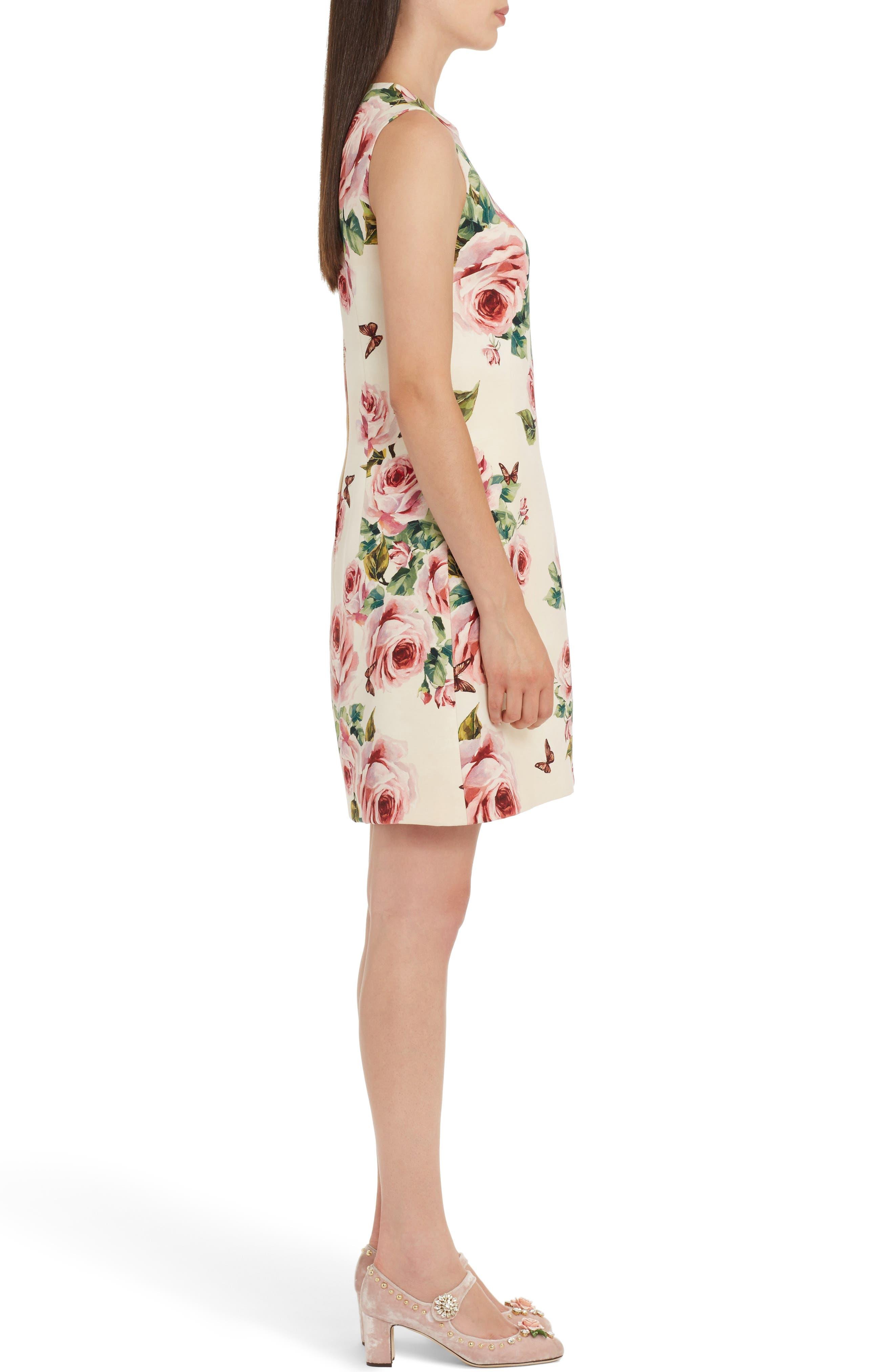 Rose Print Wool & Silk Shift Dress,                             Alternate thumbnail 3, color,                             Pink
