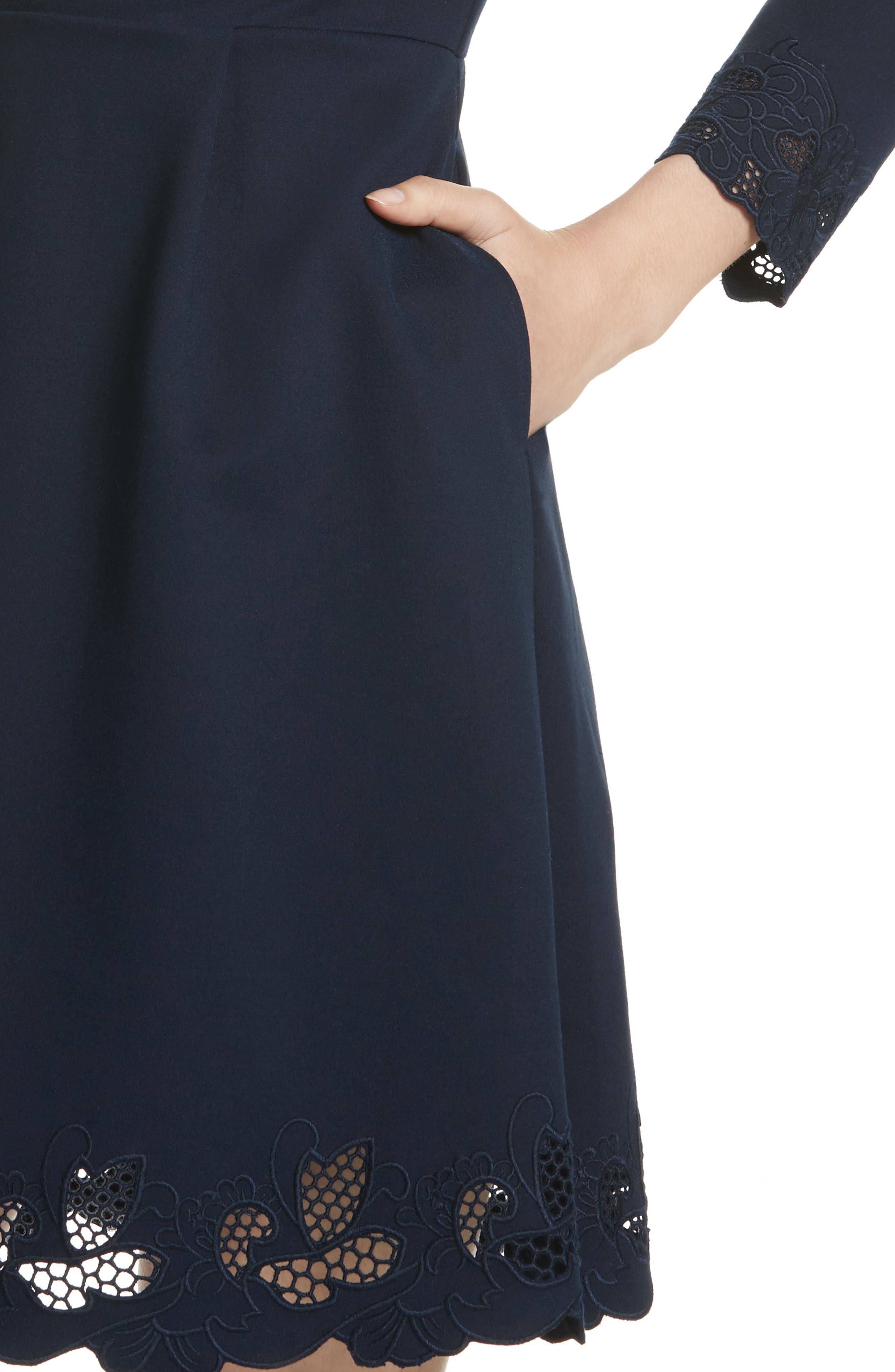 Emey Fit & Flare Dress,                             Alternate thumbnail 3, color,                             Navy