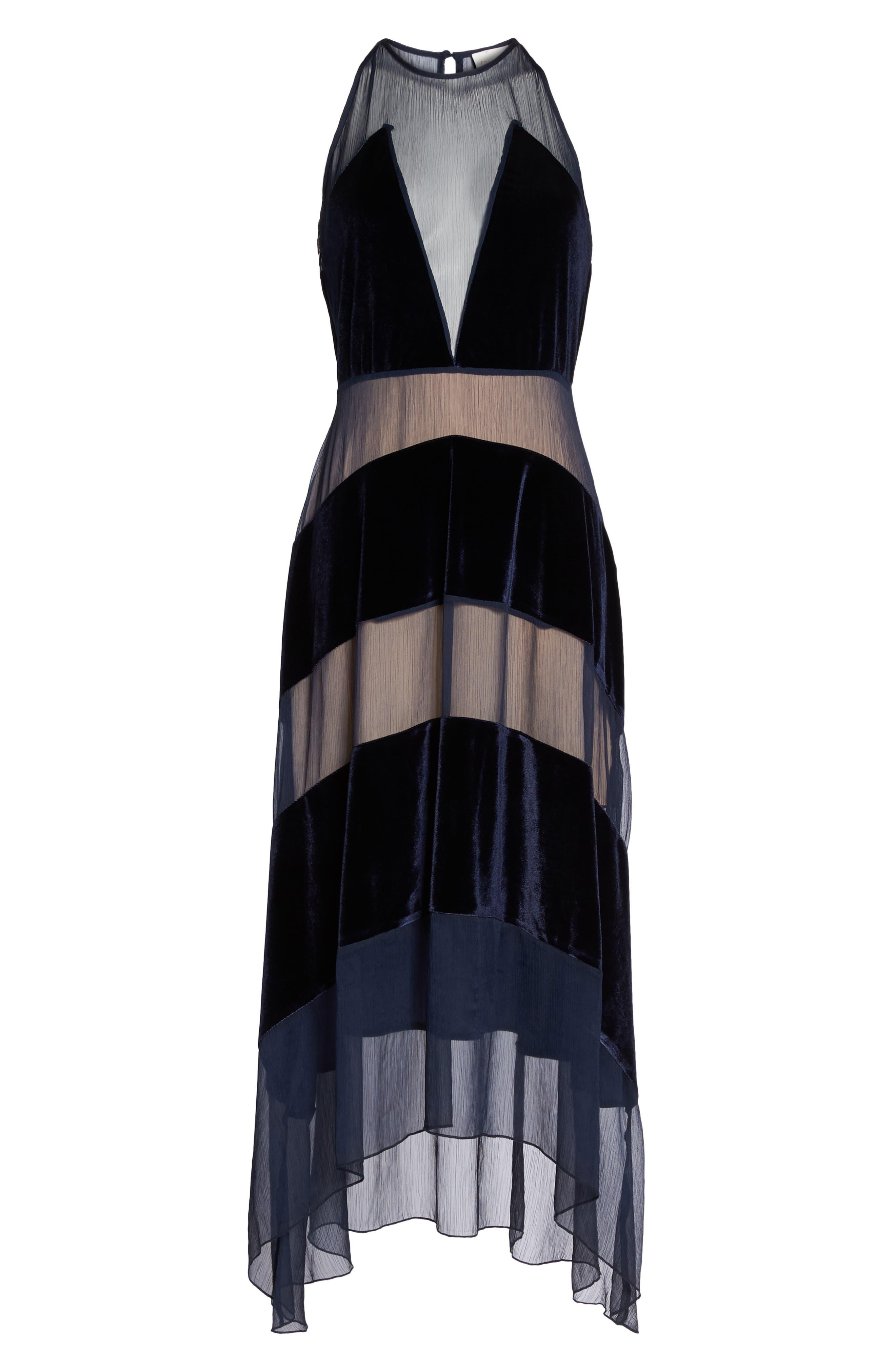 Alternate Image 6  - Foxiedox Velvet Stripe Midi Dress