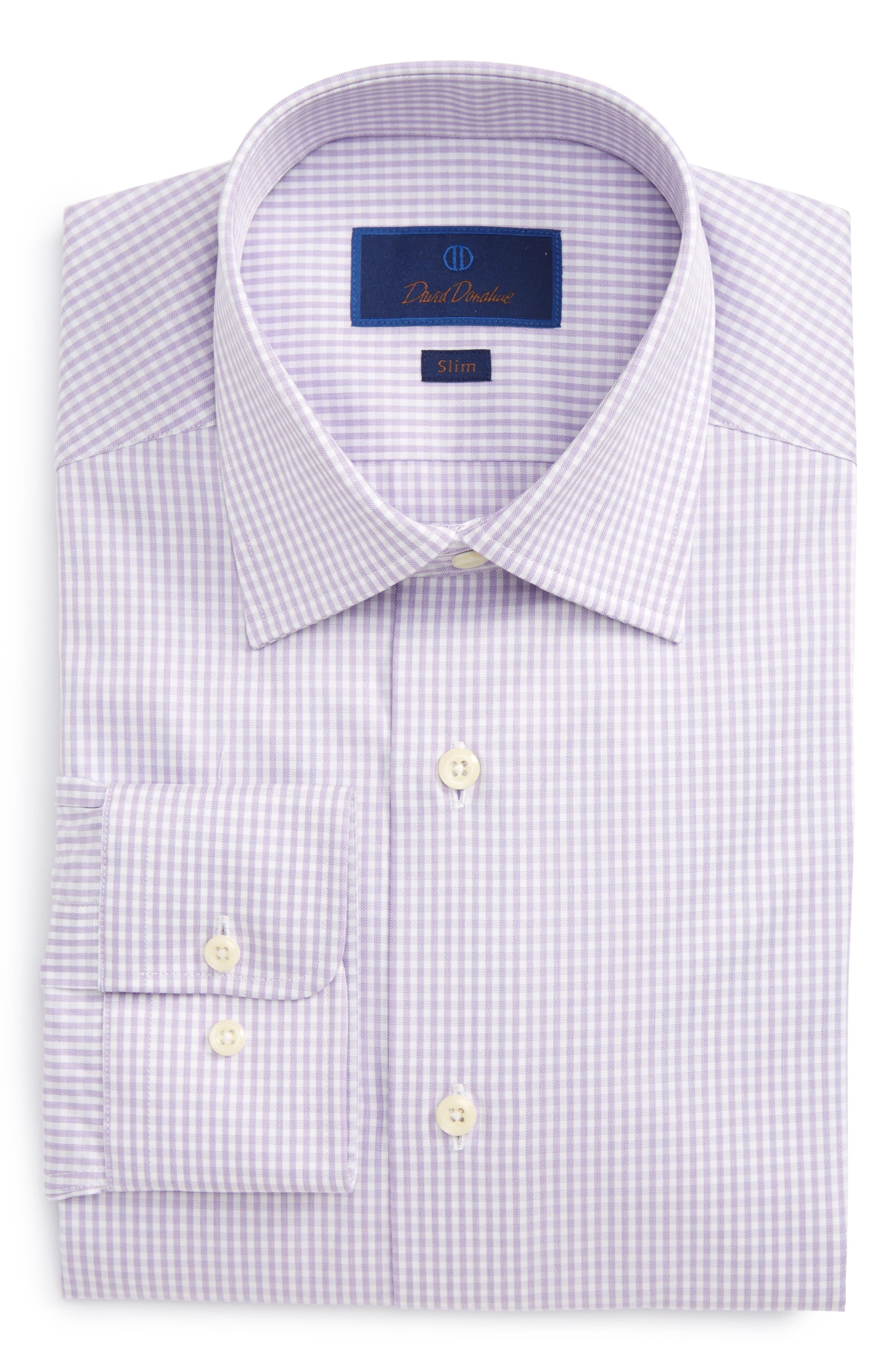 Slim Fit Check Dress Shirt,                         Main,                         color, Lilac