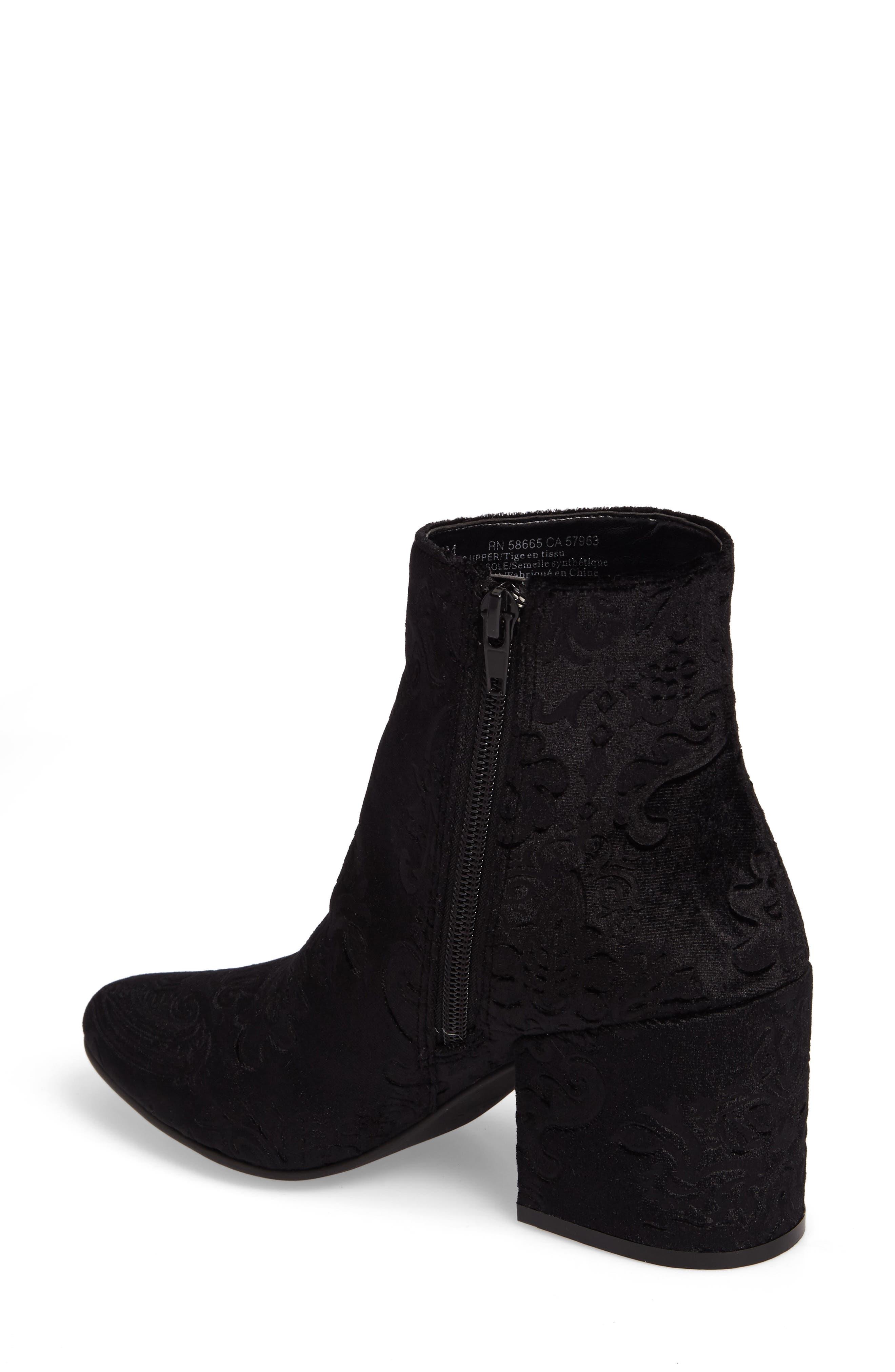 Marian Block Heel Bootie,                             Alternate thumbnail 2, color,                             Black Embossed Velvet