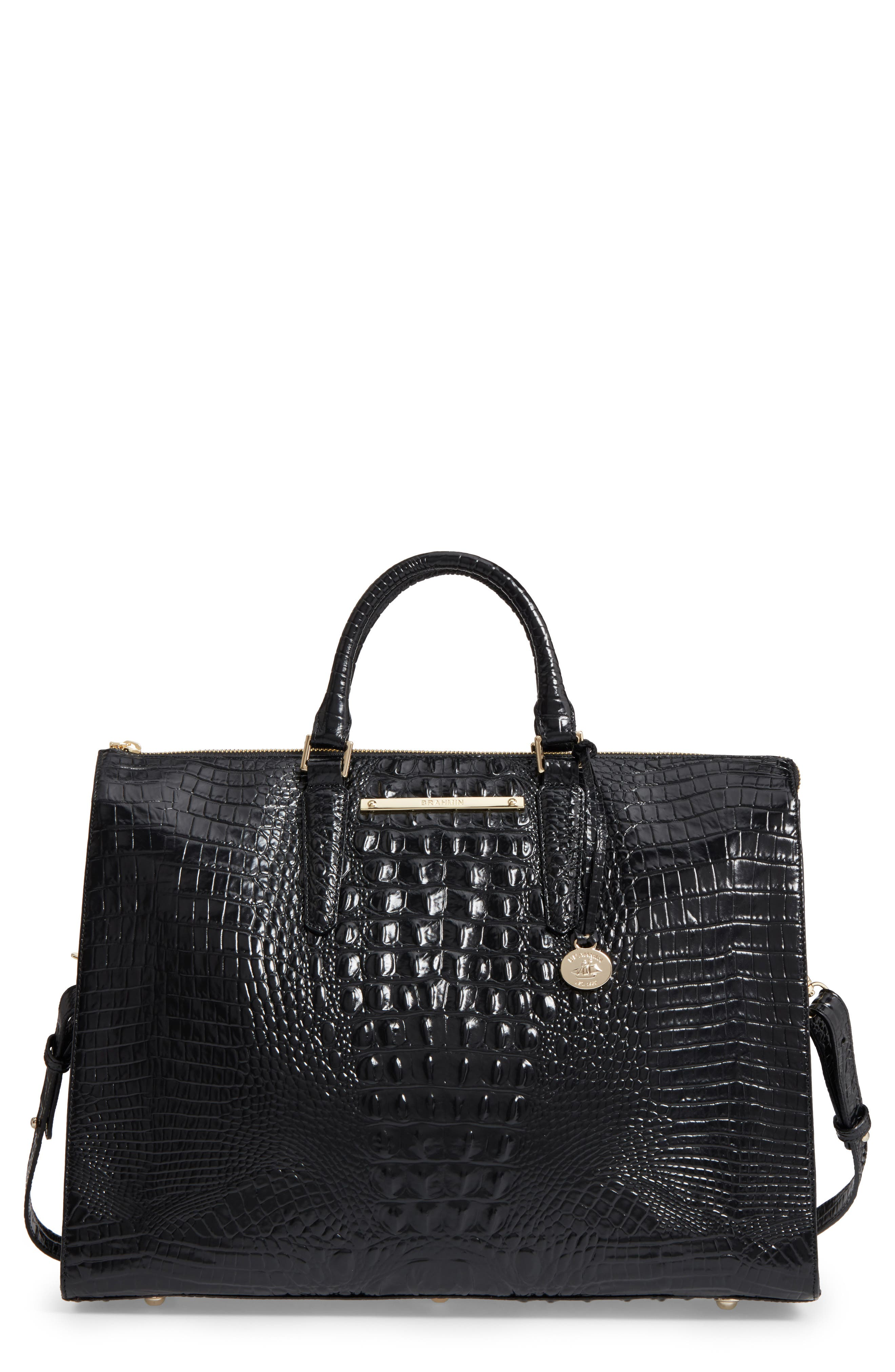 Brahmin Melbourne Croc Embossed Leather Business Tote