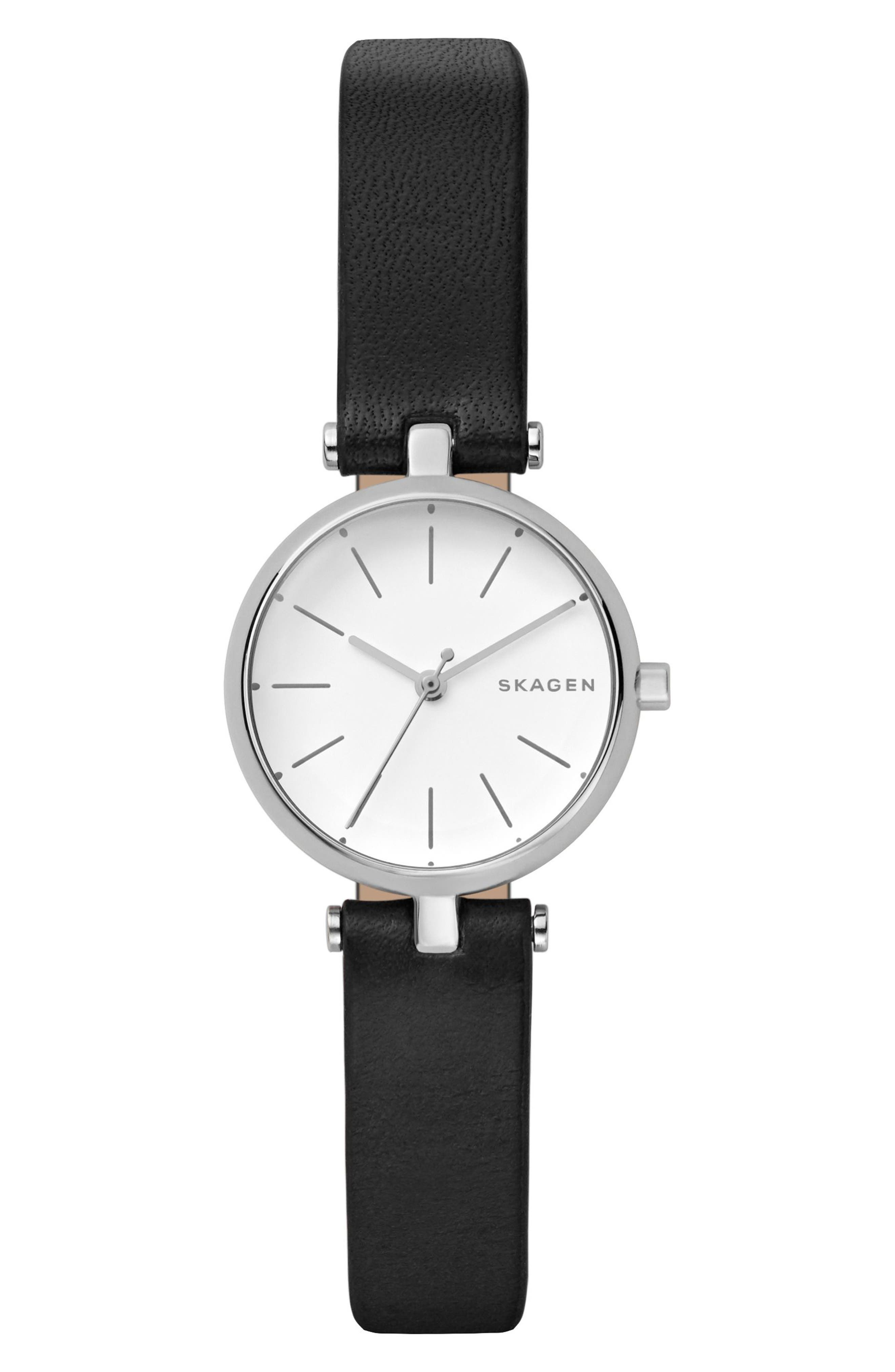 Signatur Leather Strap Watch, 26mm,                         Main,                         color, Black/ White/ Silver