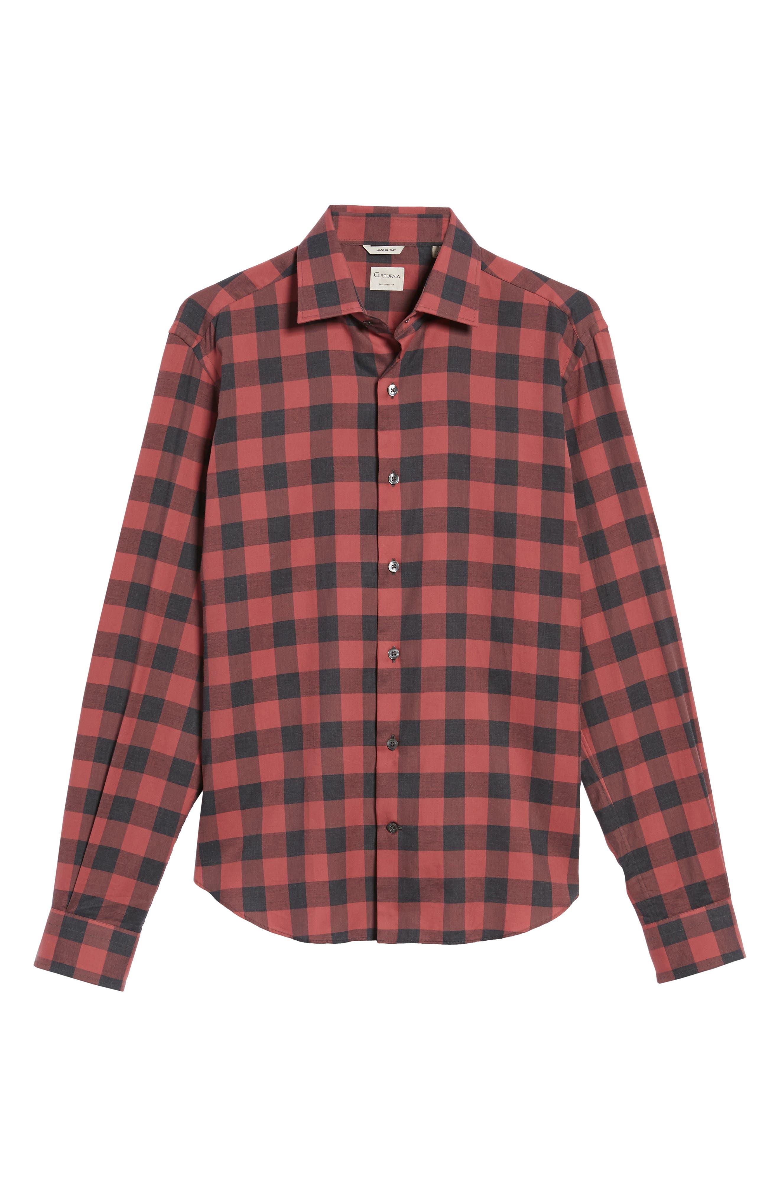 Slim Fit Buffalo Check Sport Shirt,                             Alternate thumbnail 6, color,                             Terracotta