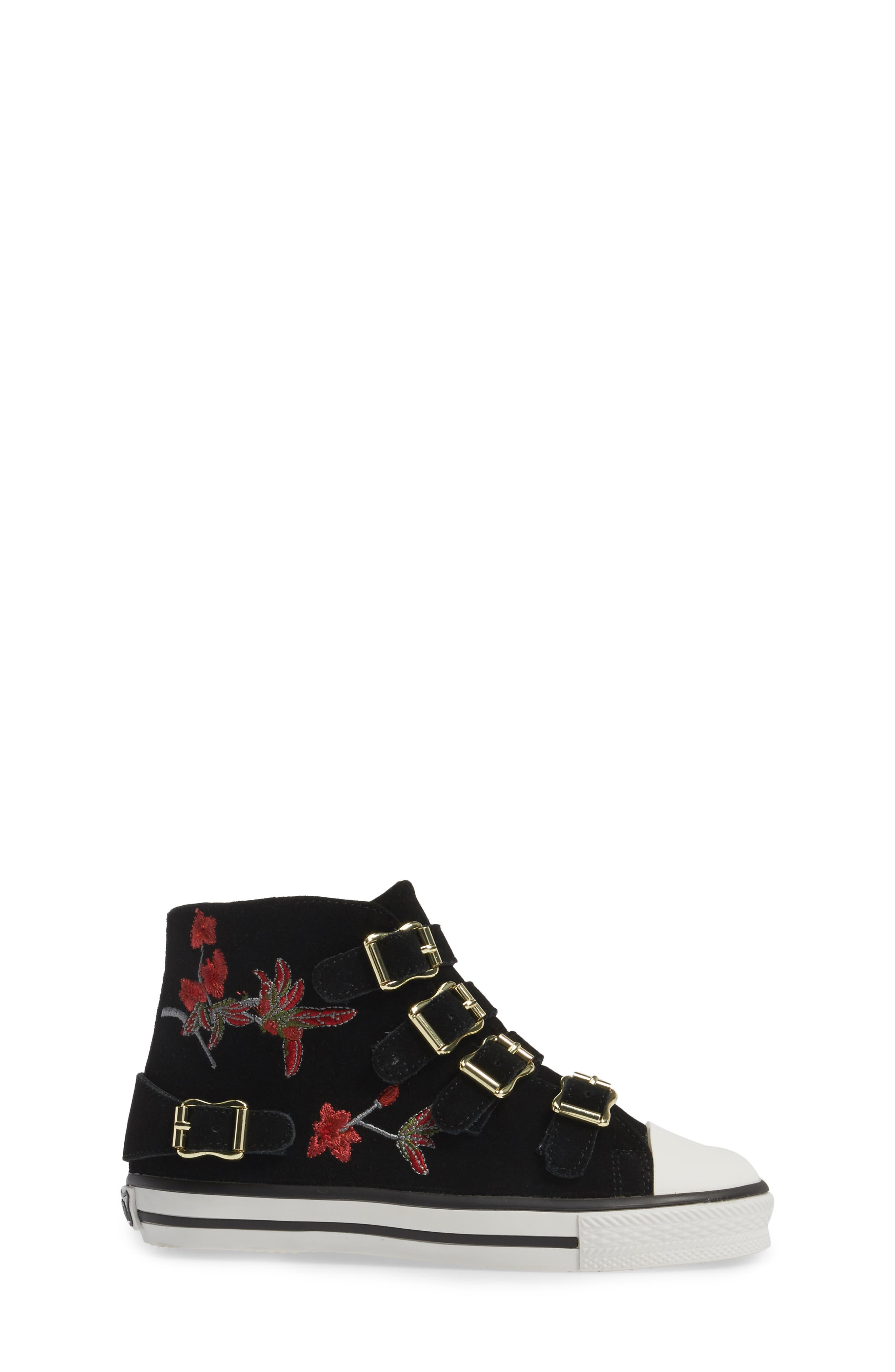 Vava Flowers Embroidered High Top Sneaker,                             Alternate thumbnail 3, color,                             Black Suede