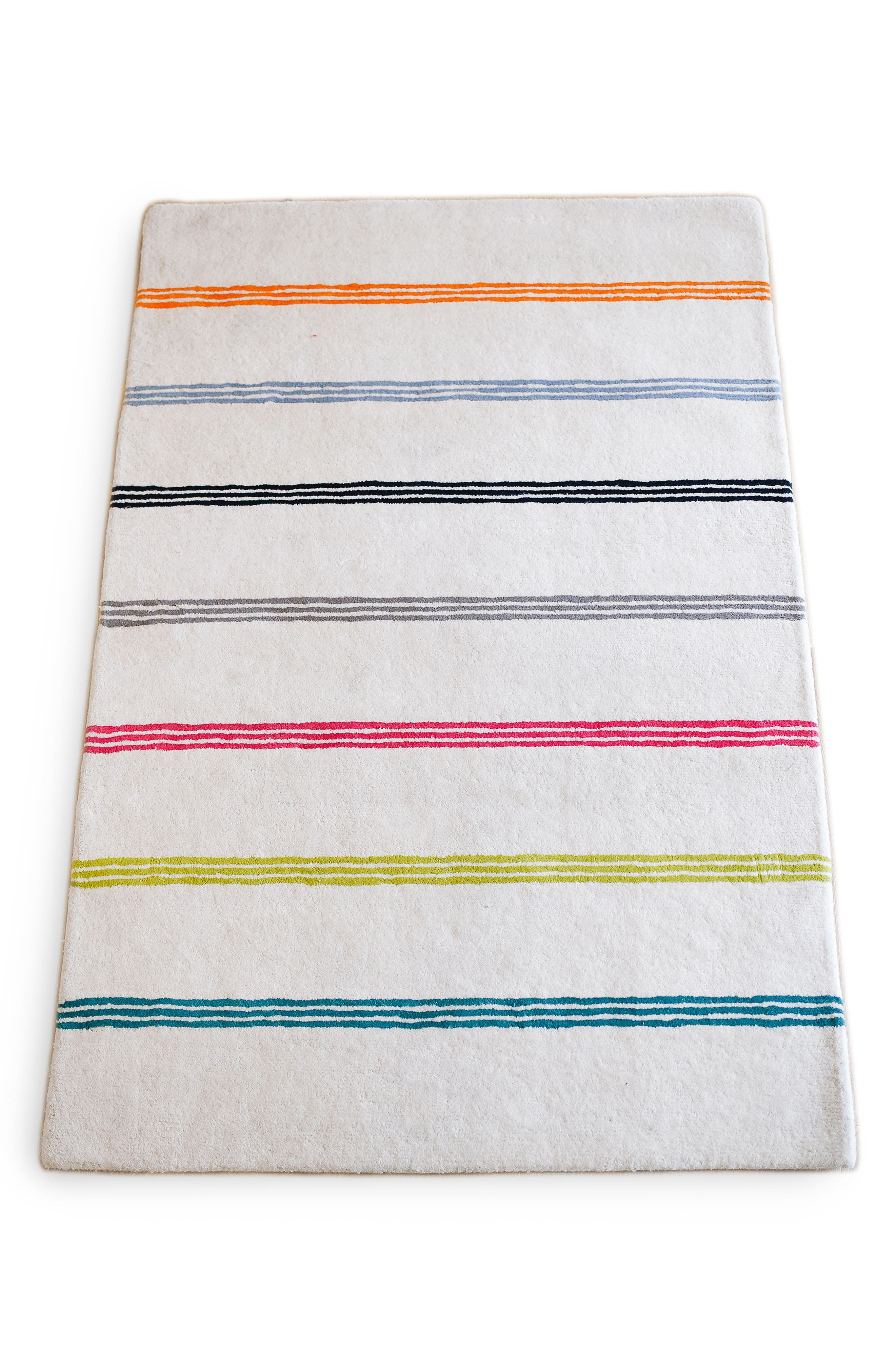 Rainbow Stripe Wool Rug,                         Main,                         color, Multi