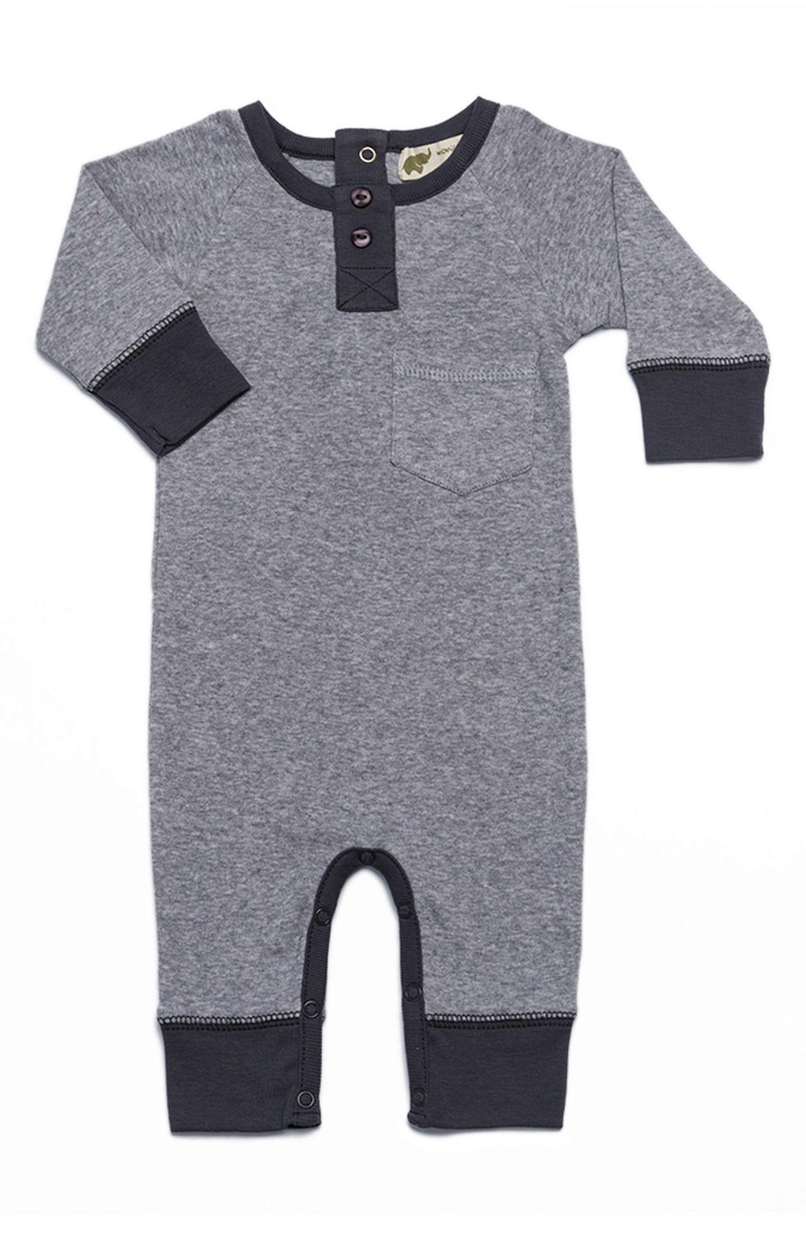 Monica + Andy Henley Organic Cotton Romper (Baby Boys)