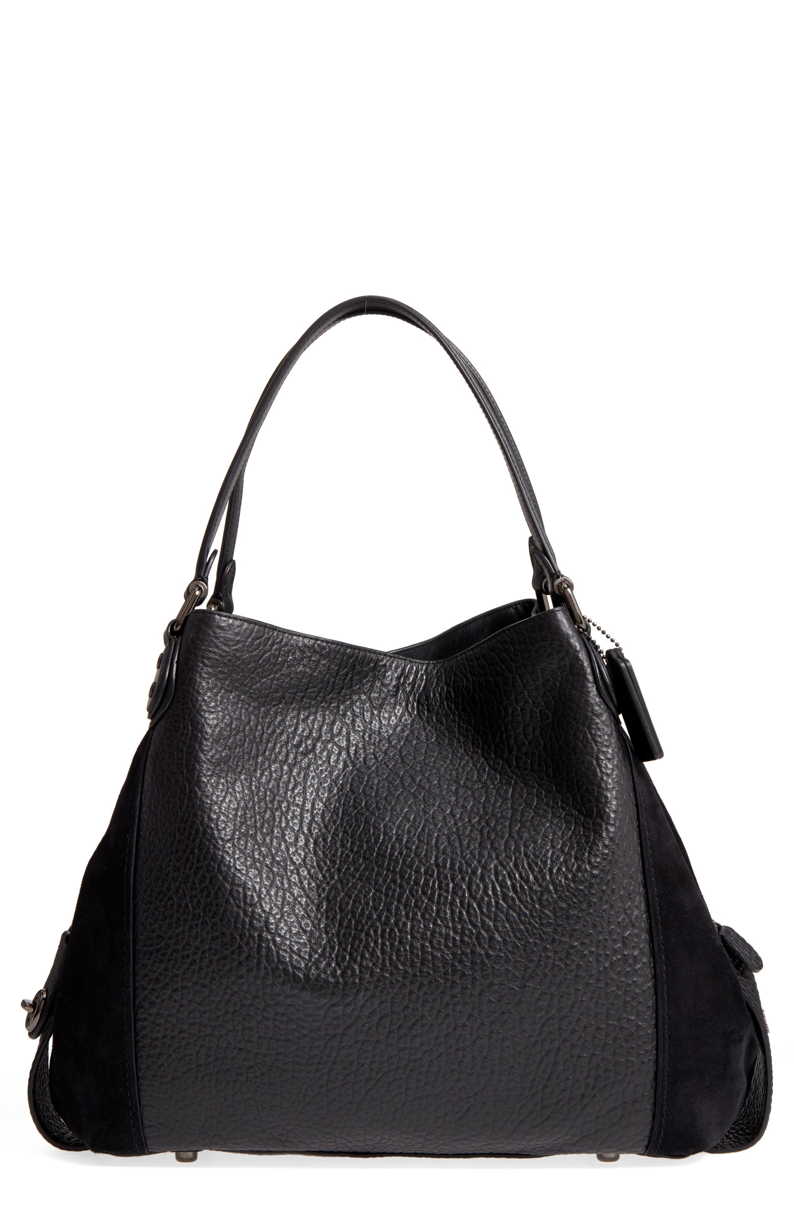 Edie 42 Leather & Suede Shoulder Bag,                         Main,                         color, Black