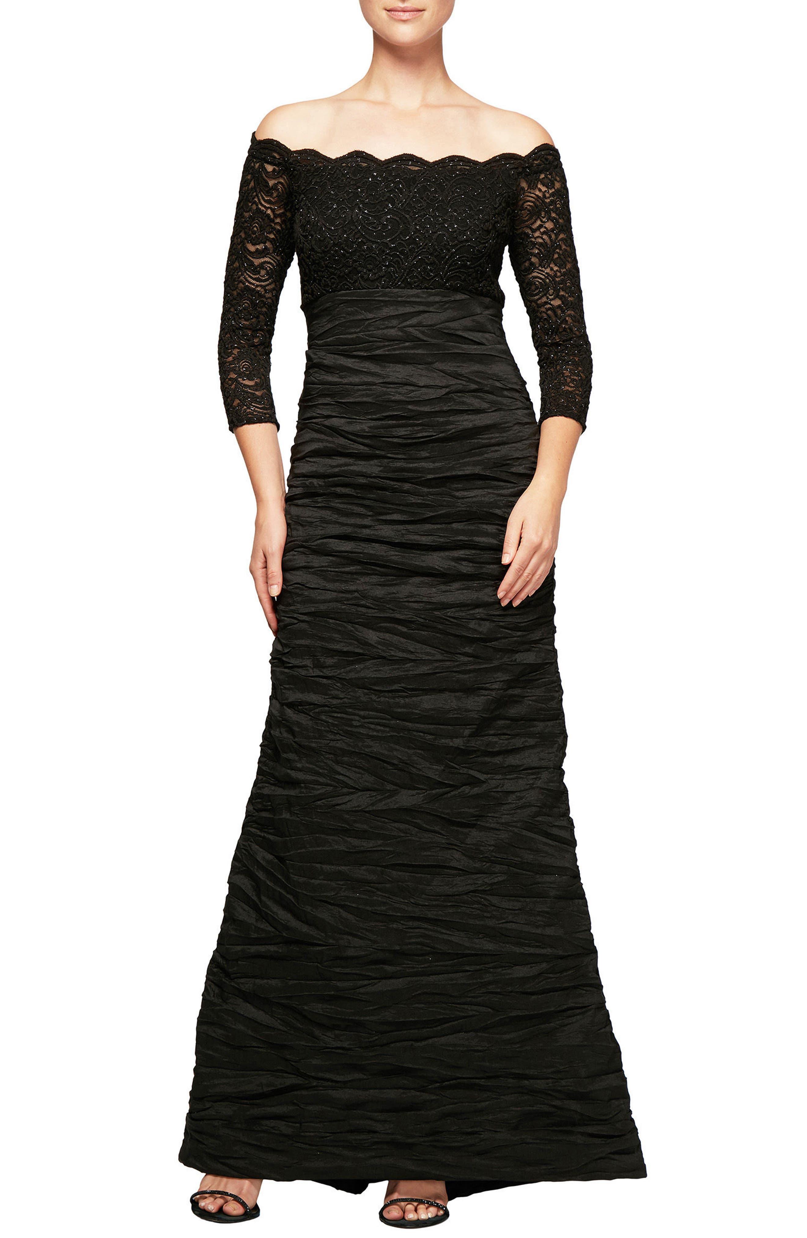 Embellished Off the Shoulder Empire Gown,                         Main,                         color, Black