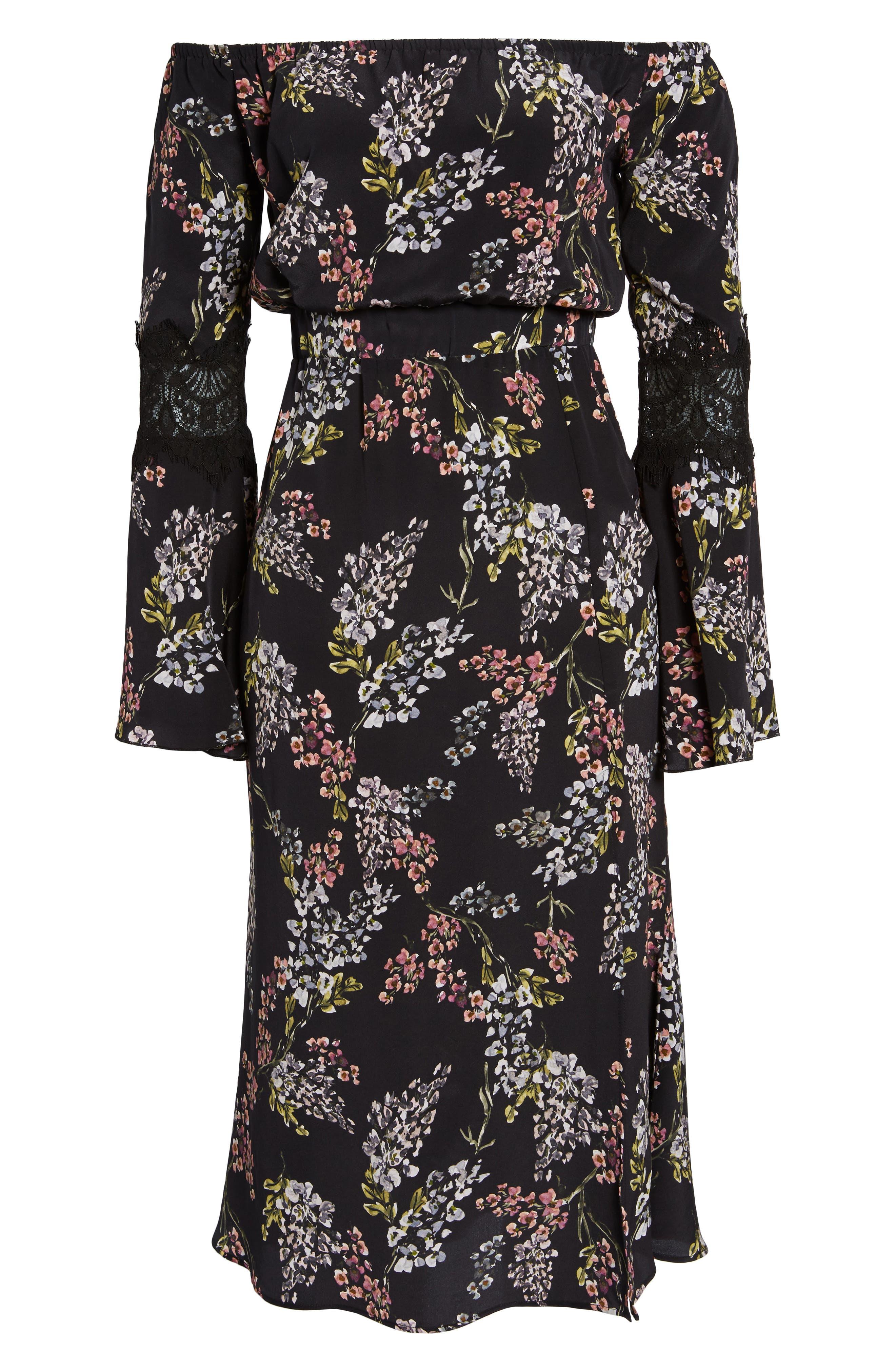 Nicholson Off the Shoulder Dress,                             Alternate thumbnail 6, color,                             Black Autumn