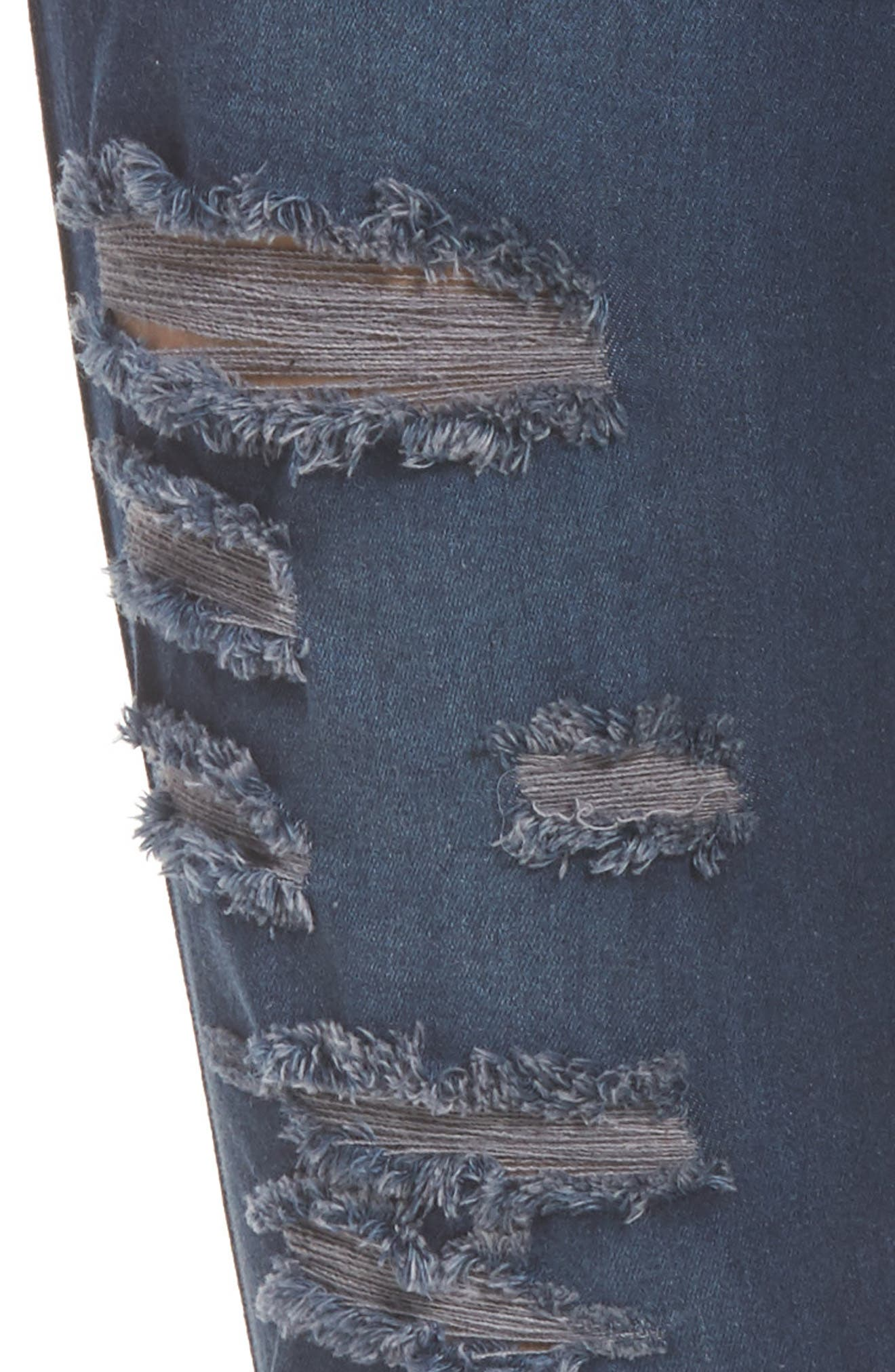 Ripped Denim Skimmer Leggings,                             Alternate thumbnail 4, color,                             Midnight Rinse Wash