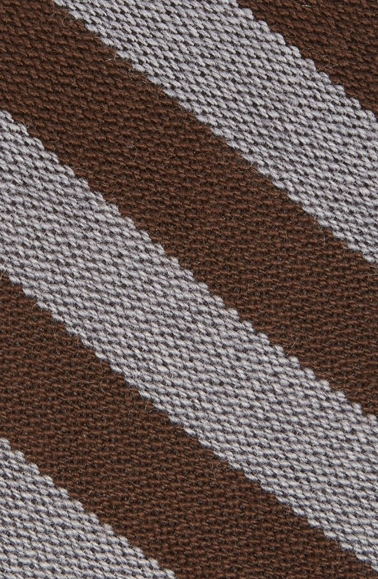 Stripe Wool & Silk Tie,                             Alternate thumbnail 2, color,                             Brown