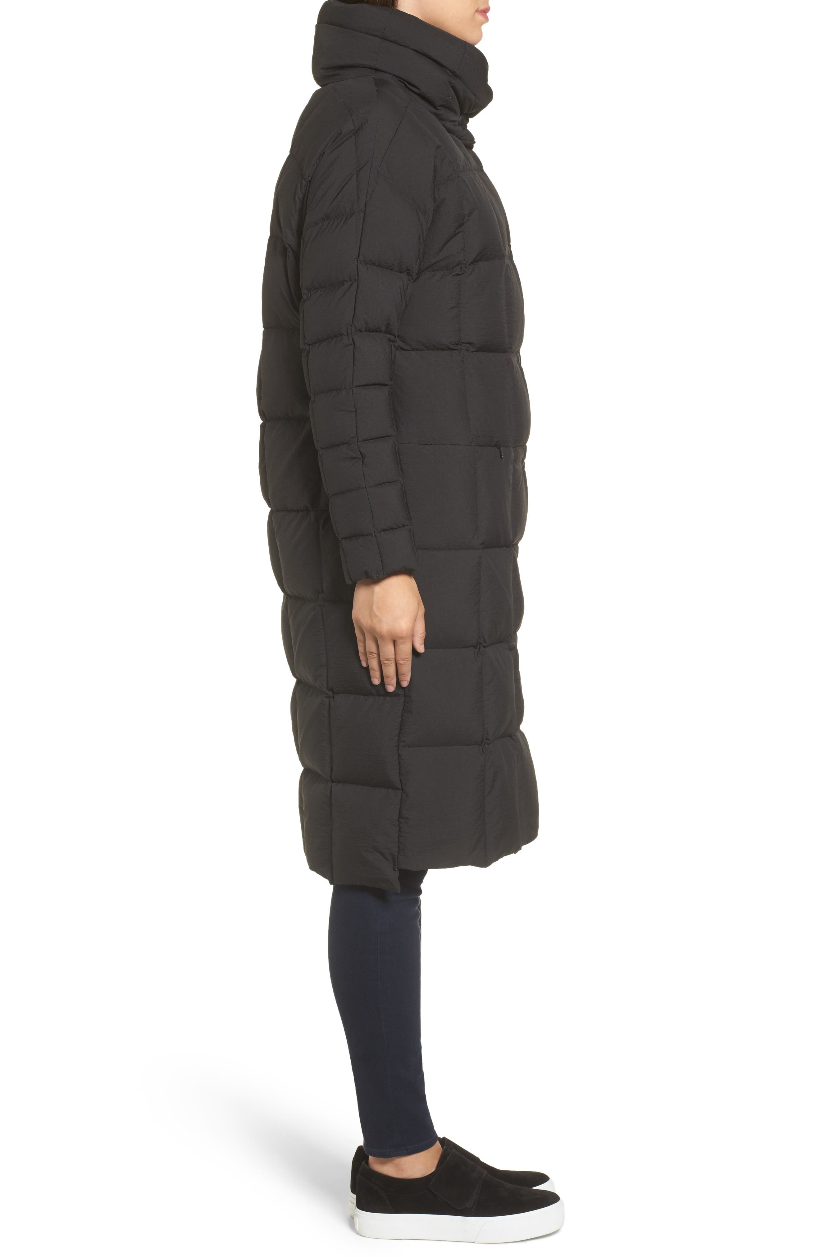 Carley Packable Long Coat,                             Alternate thumbnail 3, color,                             Black