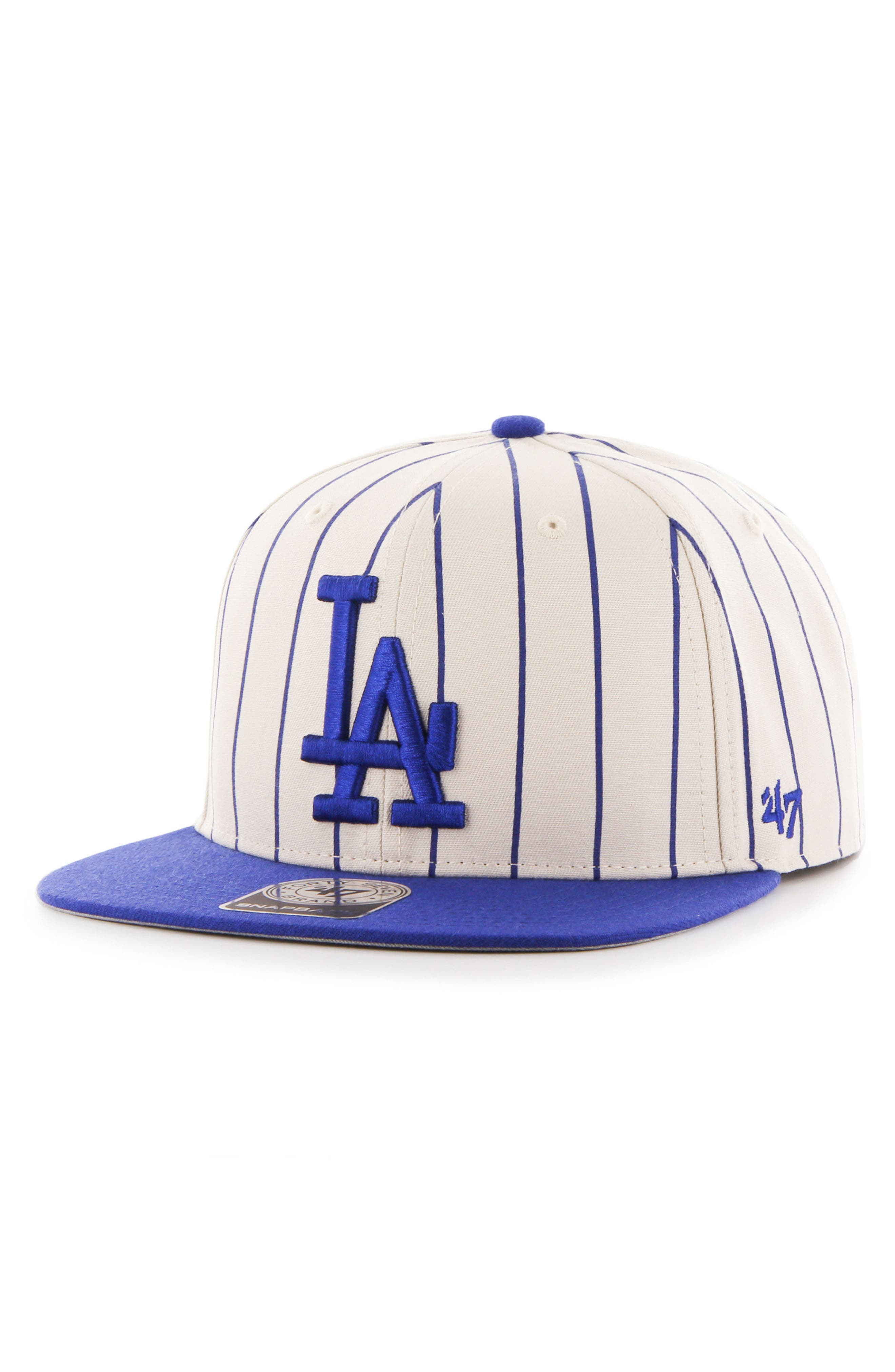 LA Dodgers Pinstripe Baseball Cap,                         Main,                         color, Open White