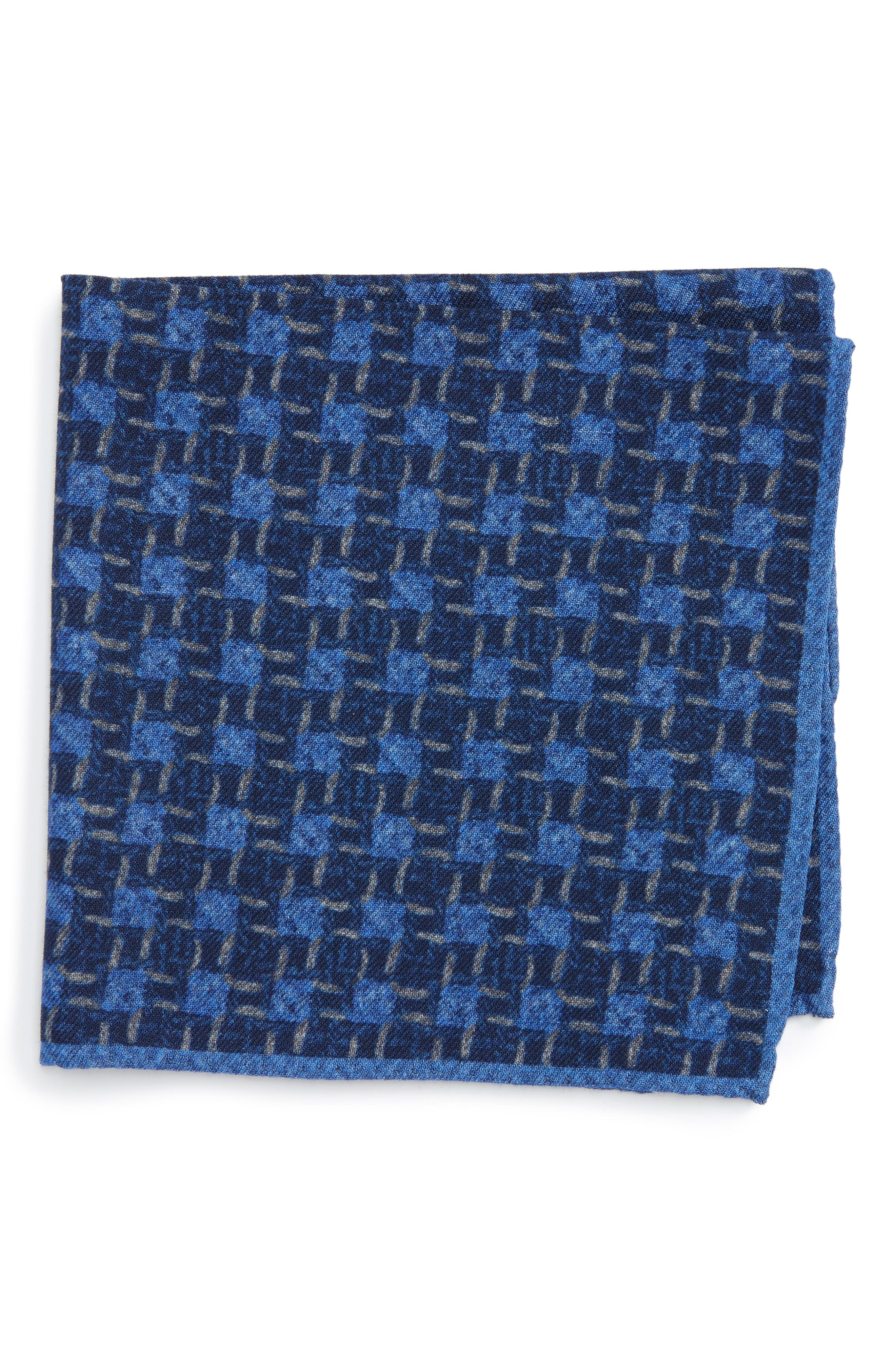 Grid Wool Pocket Square,                         Main,                         color, Navy