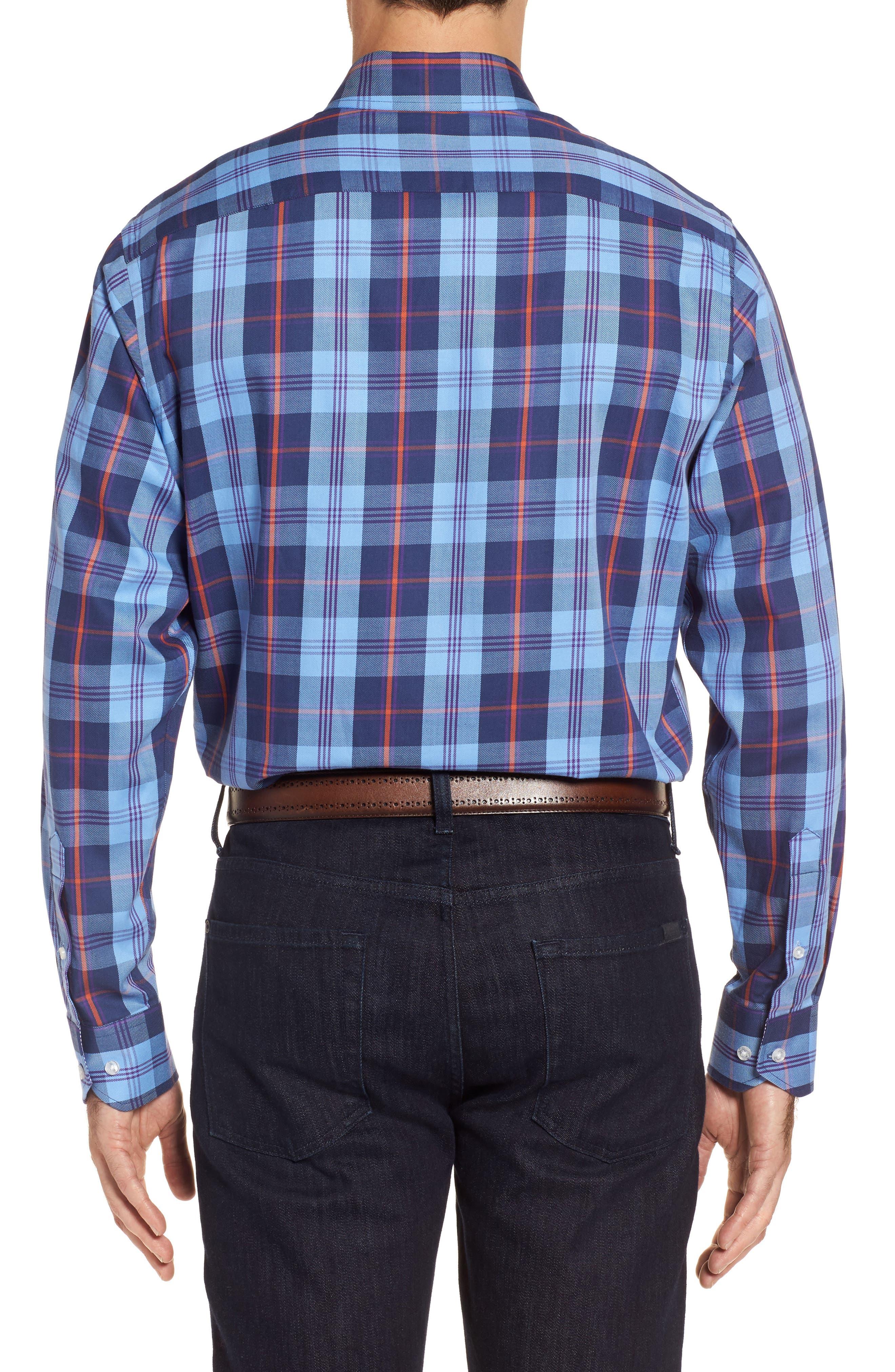 Chauvin Regular Fit Plaid Sport Shirt,                             Alternate thumbnail 2, color,                             Navy