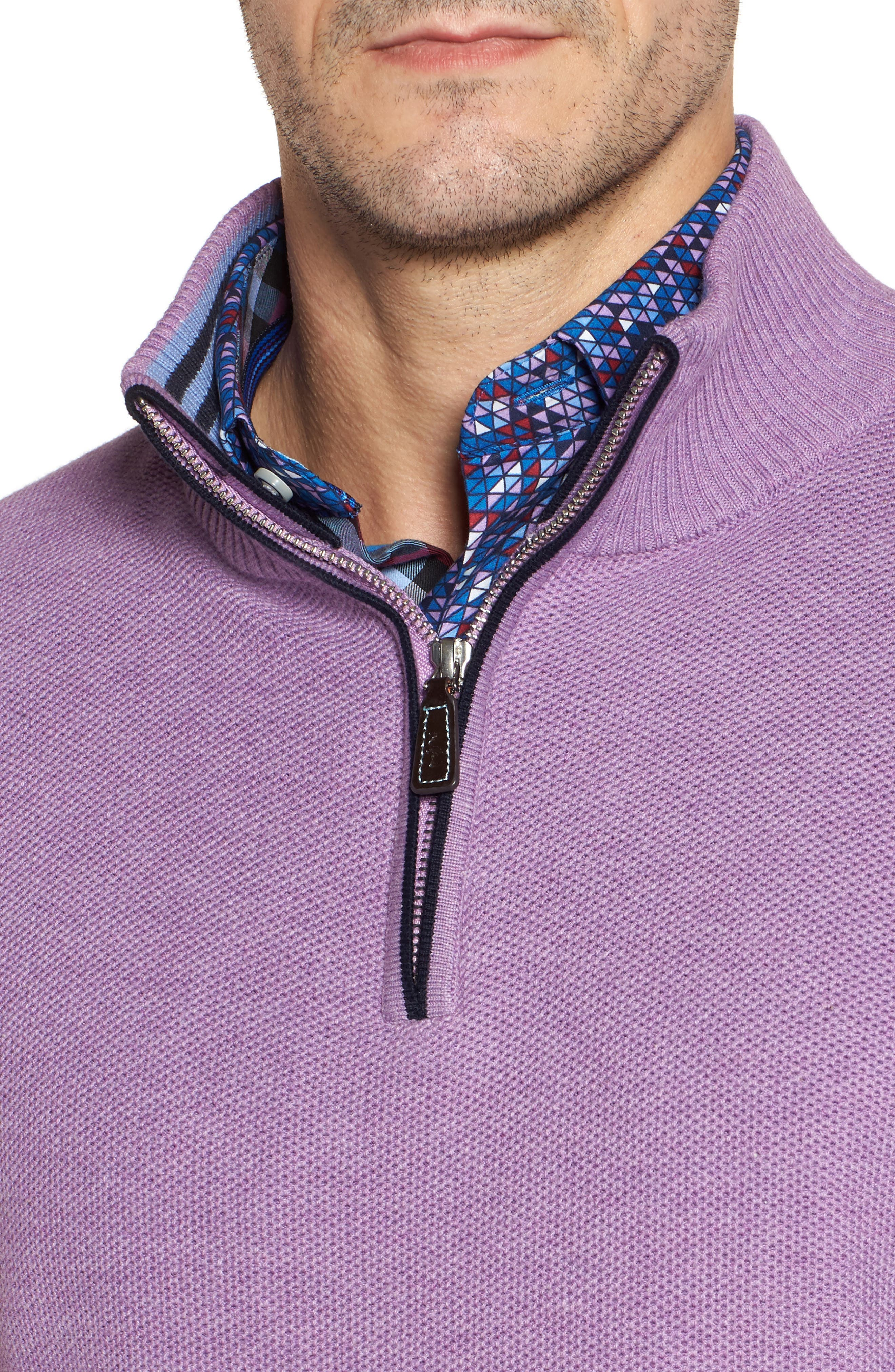 Alternate Image 4  - TailorByrd Ossun Tipped Quarter Zip Sweater