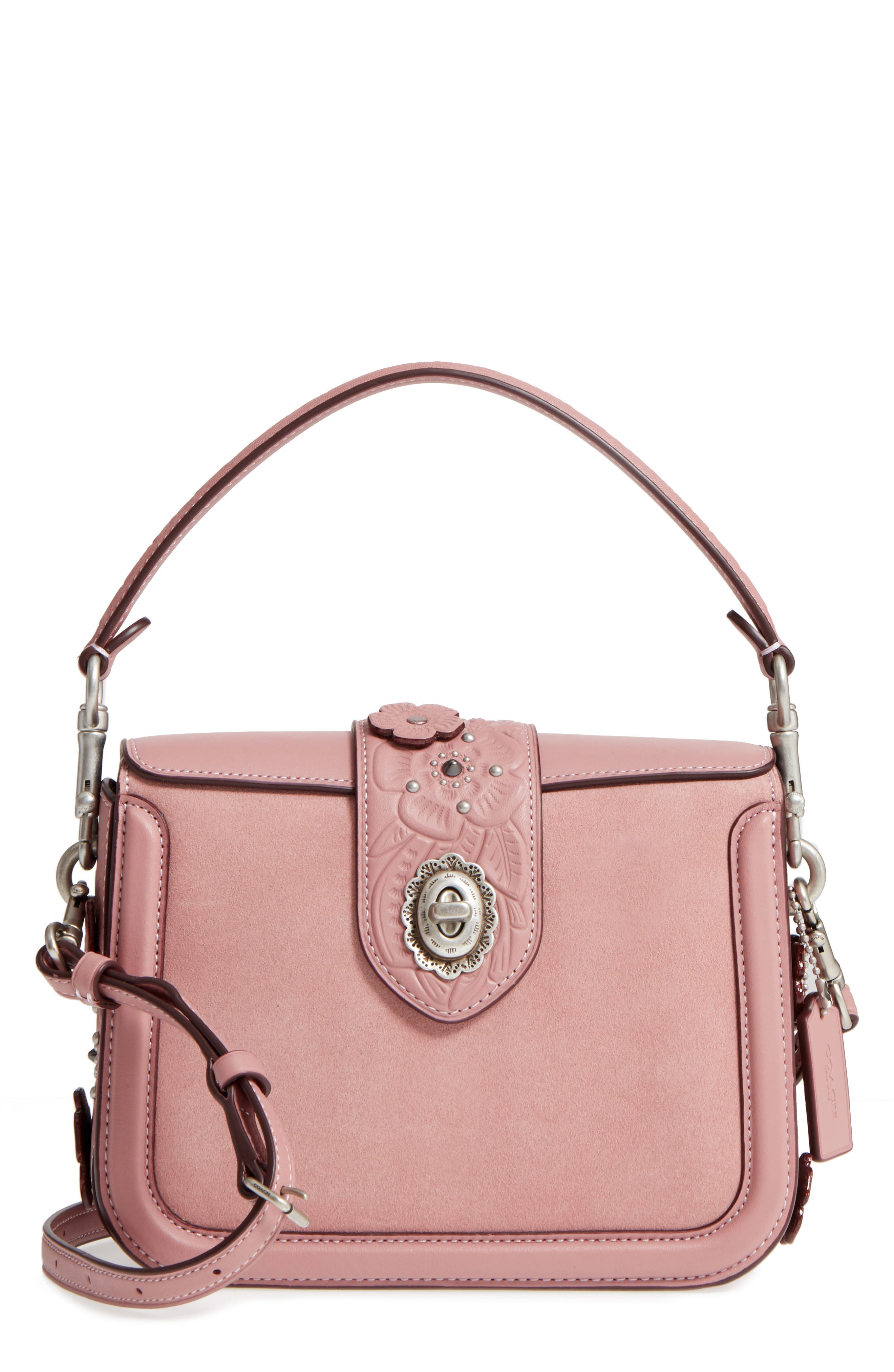 Page Tea Rose Calfskin Leather Top Handle Satchel,                             Main thumbnail 1, color,                             Dusty Rose