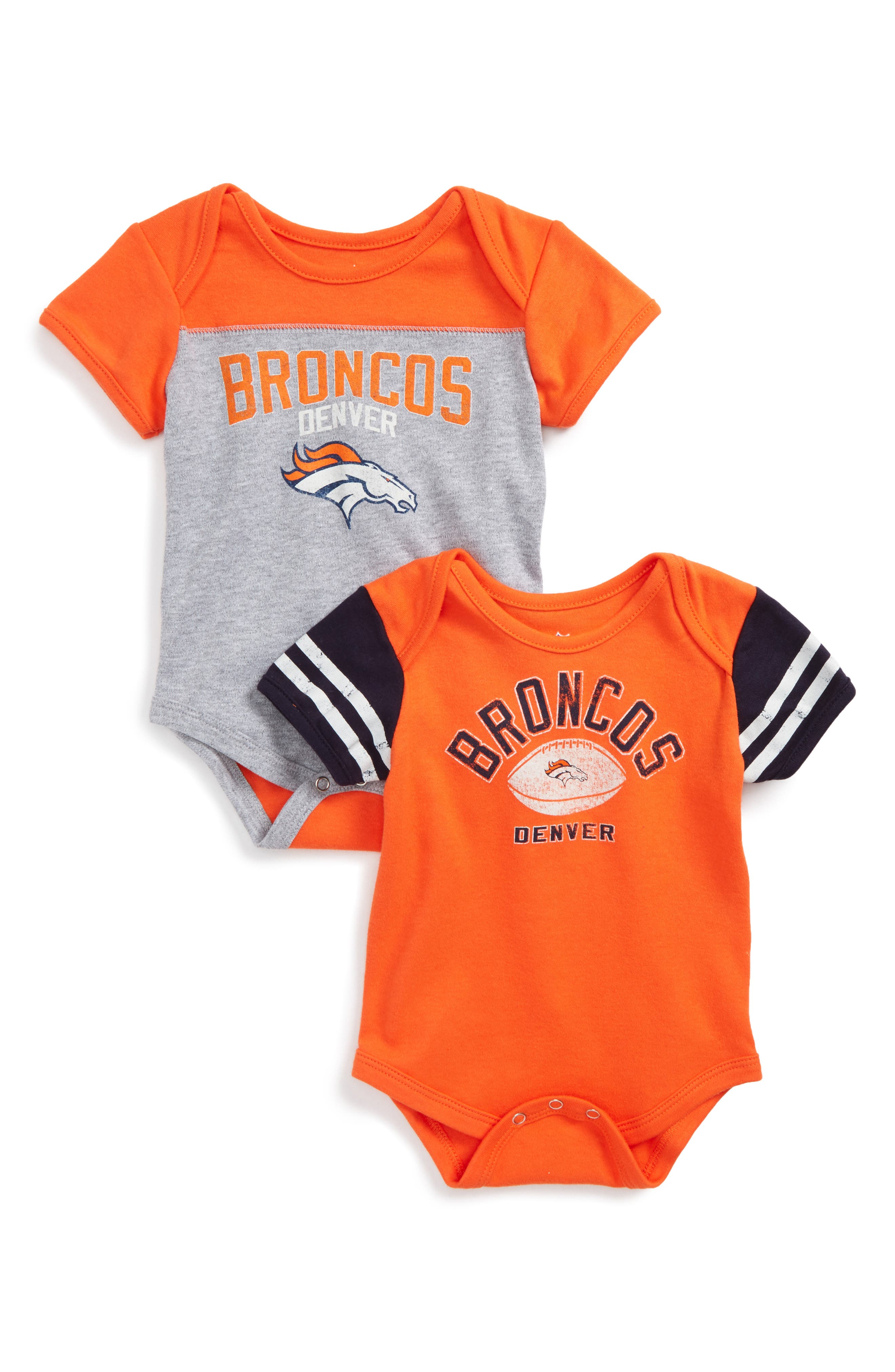 NFL Logo Denver Broncos 2-Pack Bodysuits,                             Main thumbnail 1, color,                             Broncos