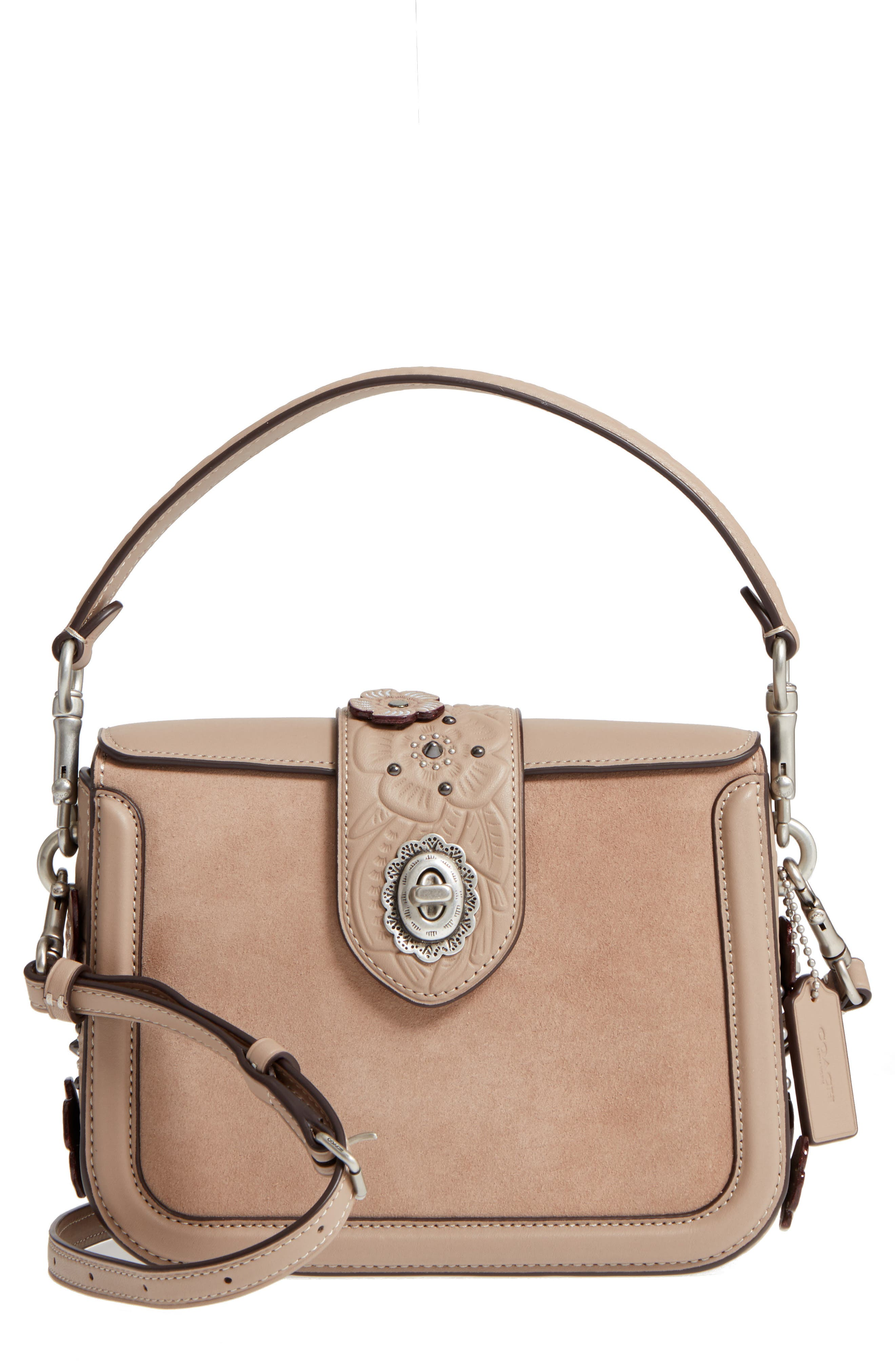 Page Tea Rose Tooled Calfskin Leather Top Handle Satchel,                         Main,                         color, Stone Multi