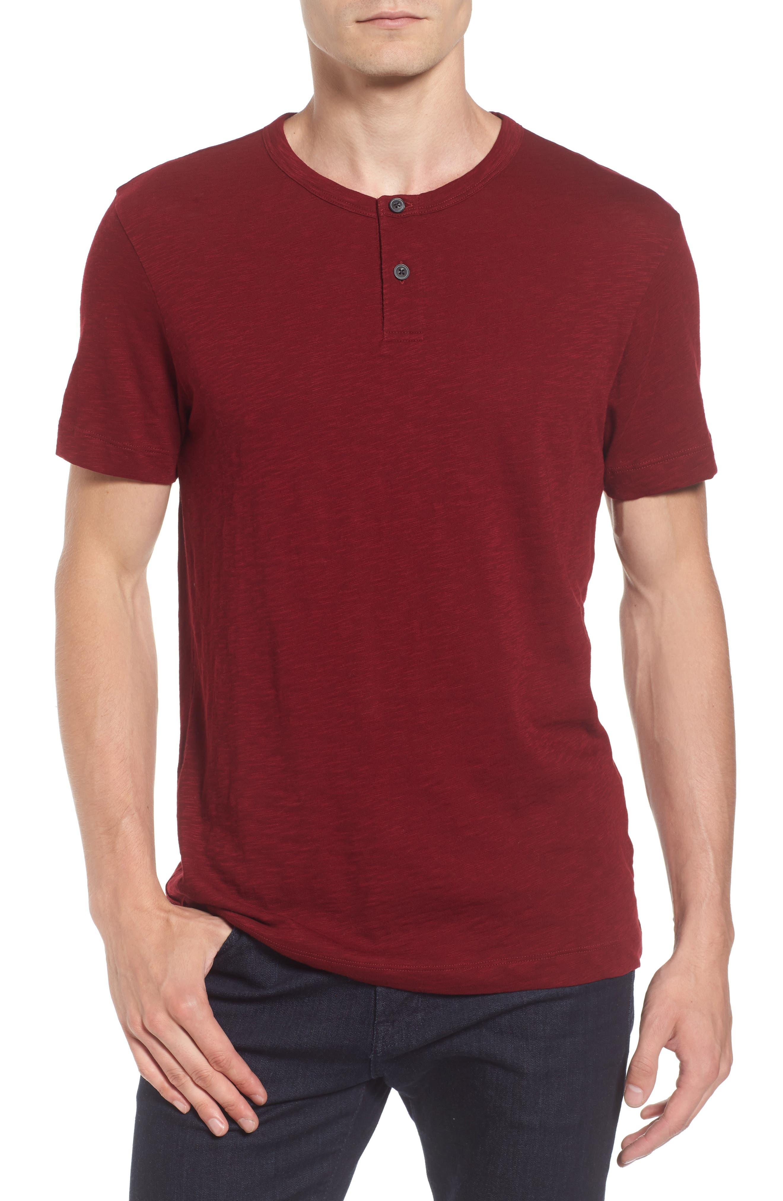 Gaskell Henley T-Shirt,                         Main,                         color, Radish