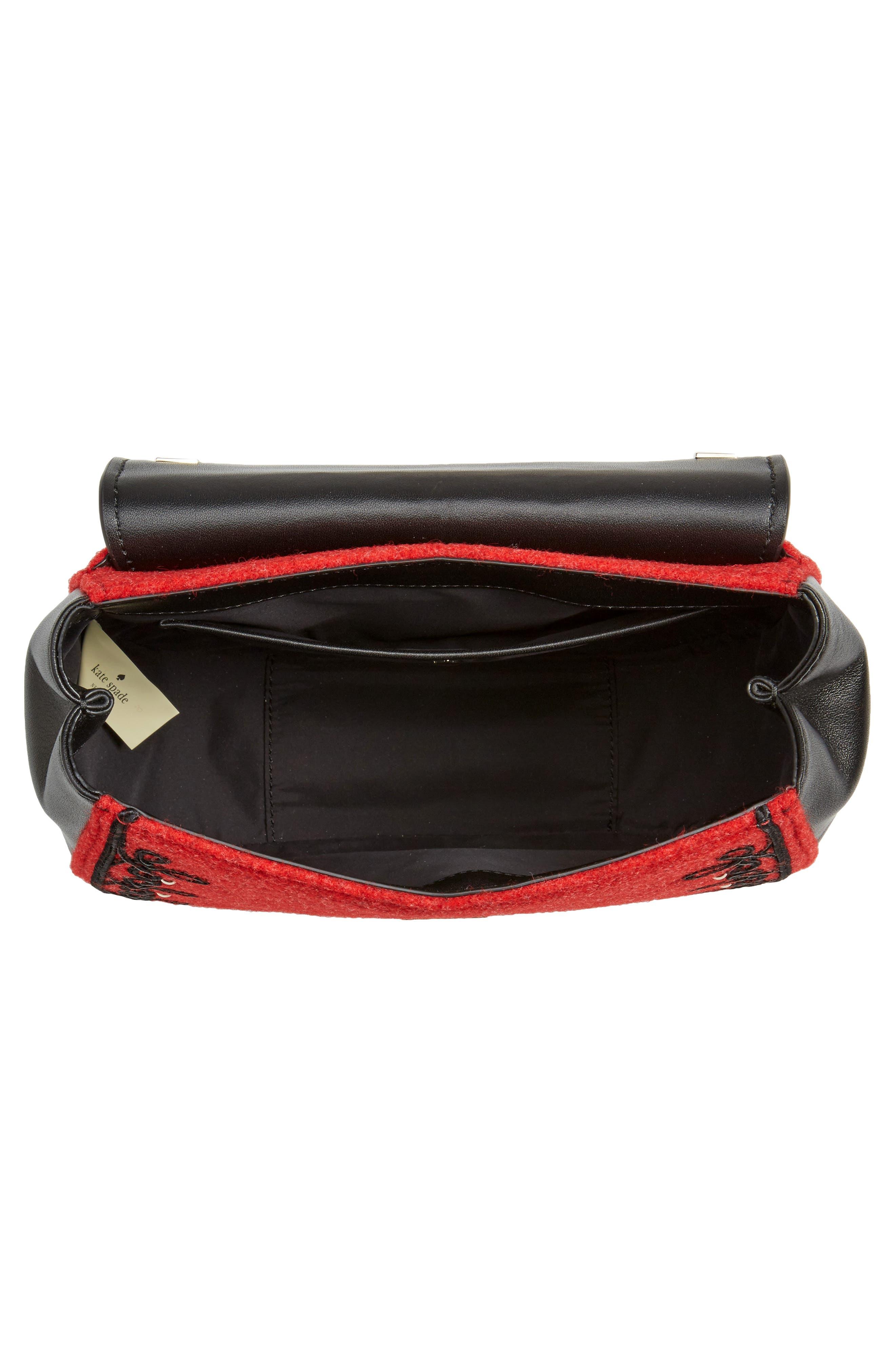 byrne street - byrdie embellished leather & wool saddle bag,                             Alternate thumbnail 3, color,                             Red Carpet