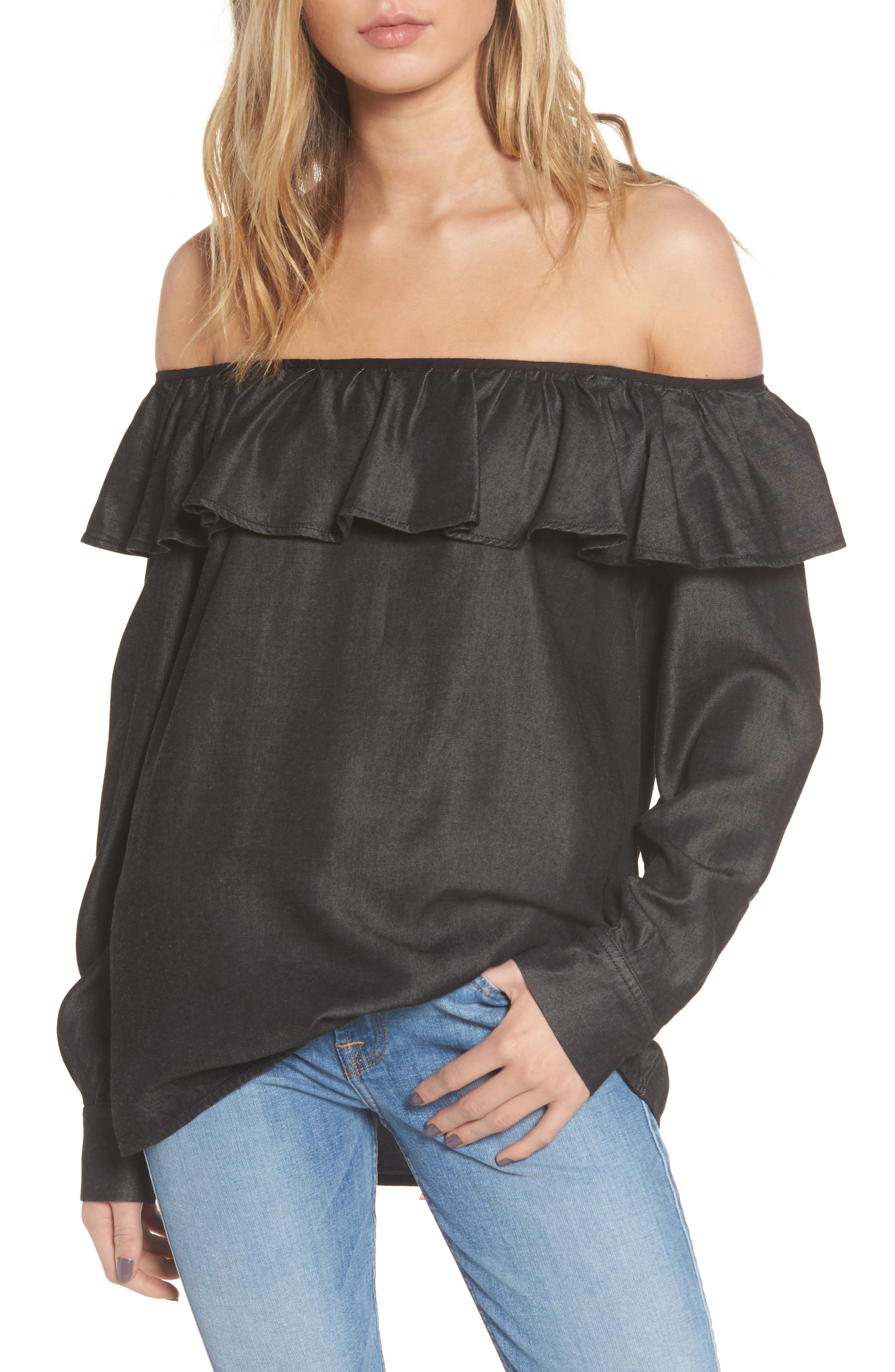 7 For All Mankind® Ruffle Off the Shoulder Chambray Top