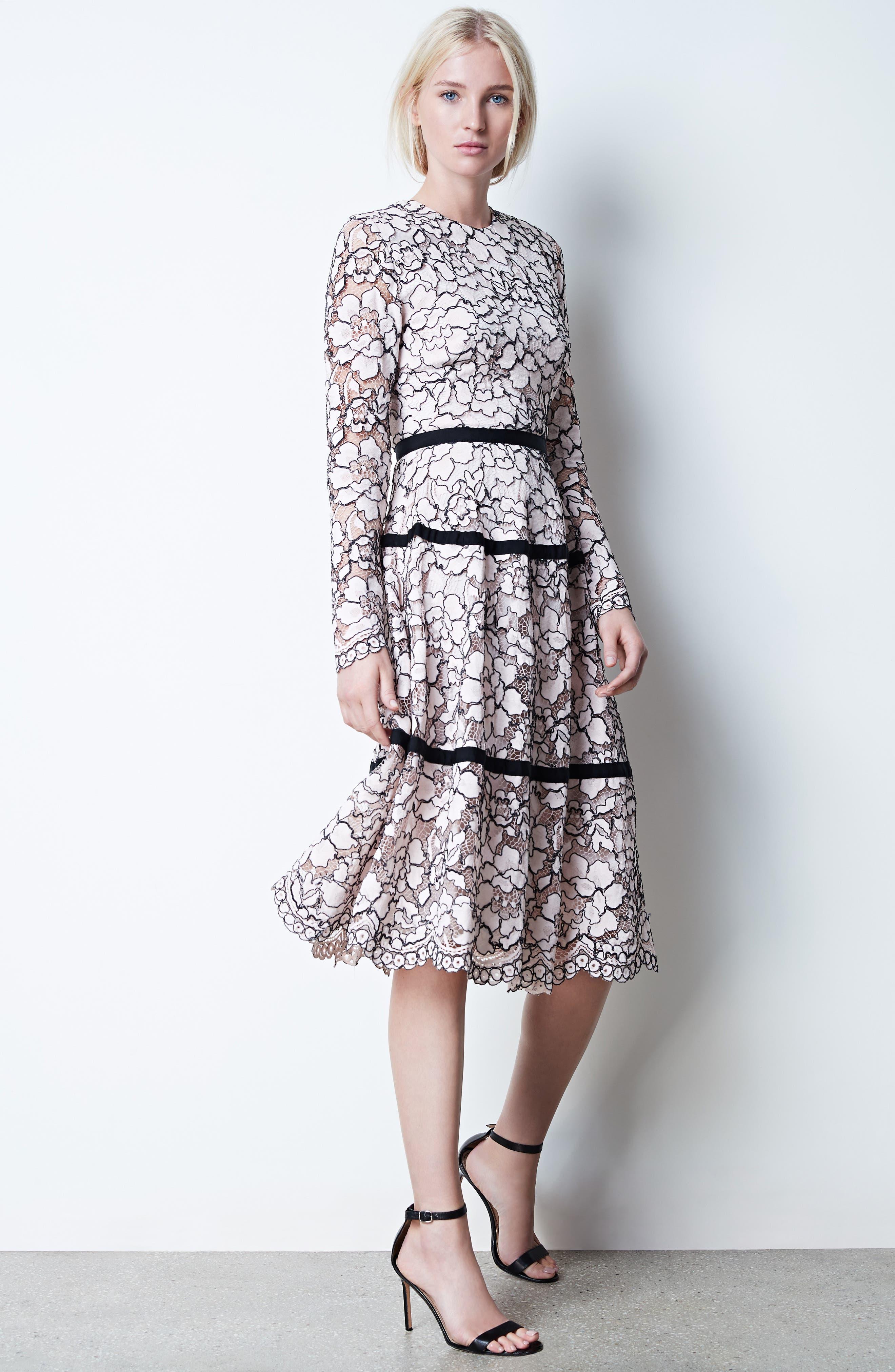 Alternate Image 2  - Lela Rose Seamed Lace A-Line Dress