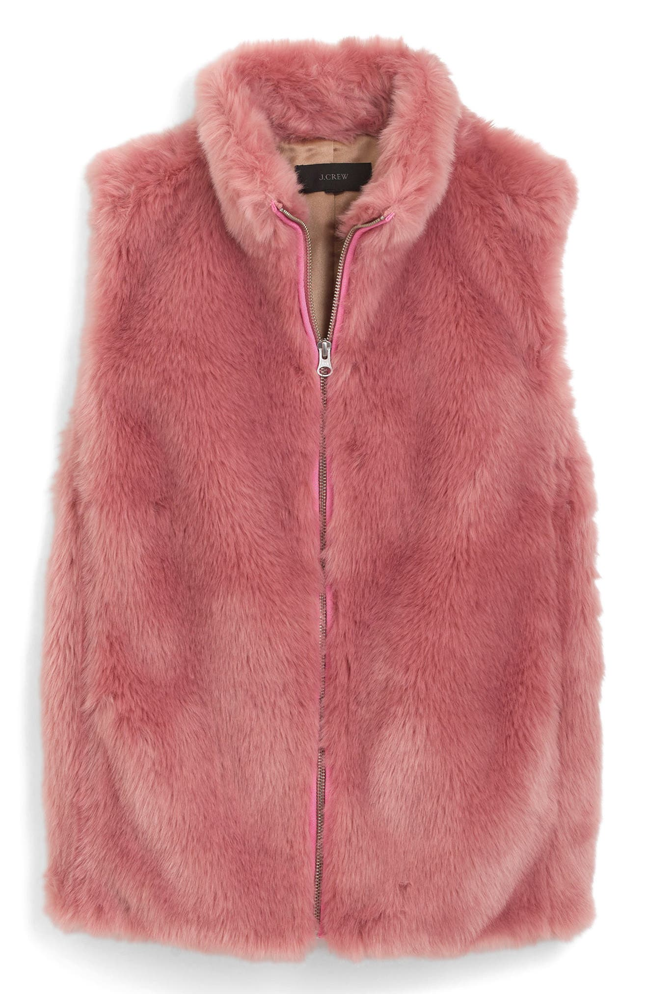 Main Image - J.Crew Faux Fur Vest (Regular & Petite)