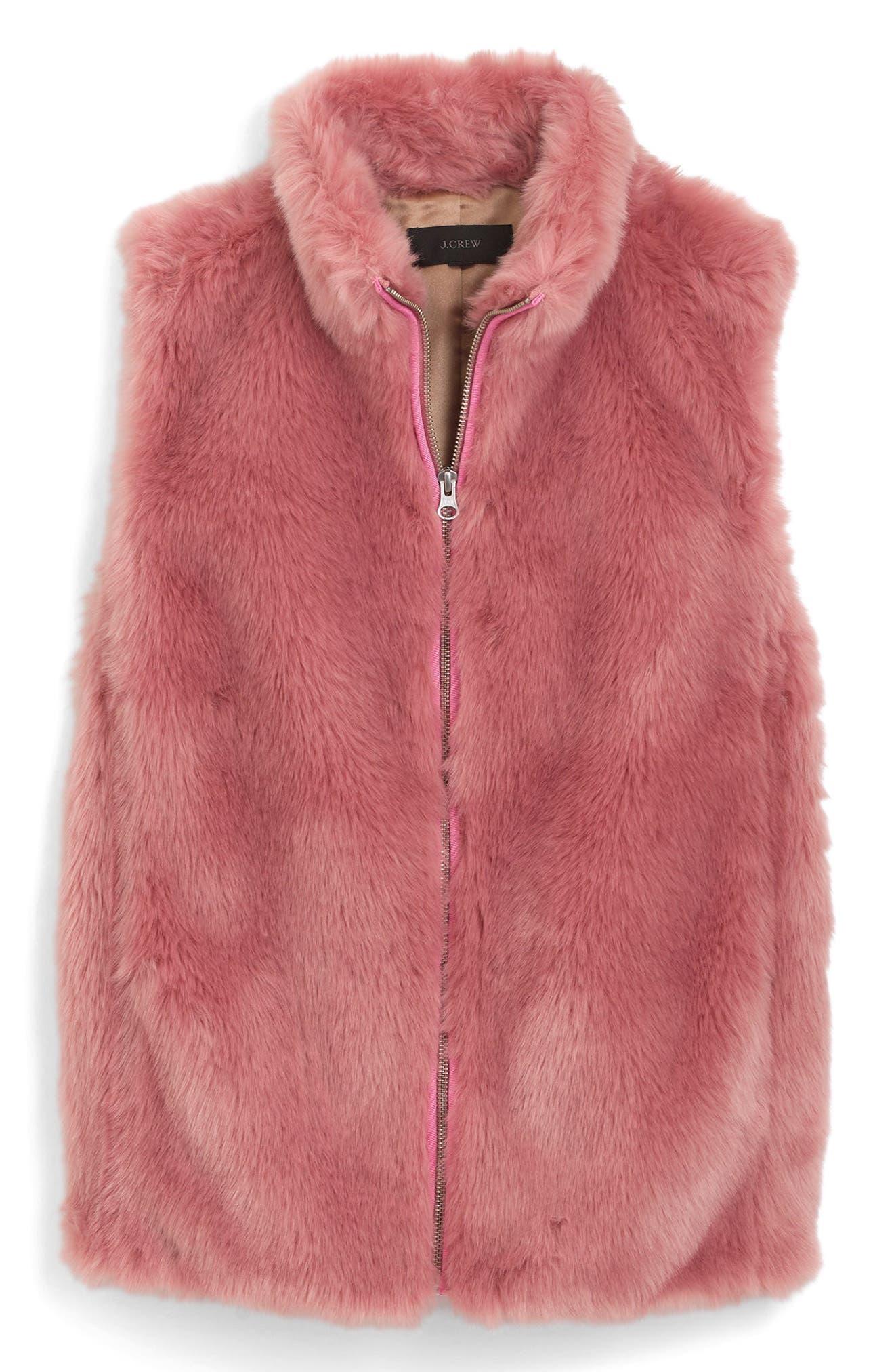 J.Crew Faux Fur Vest,                         Main,                         color, Glass Petal