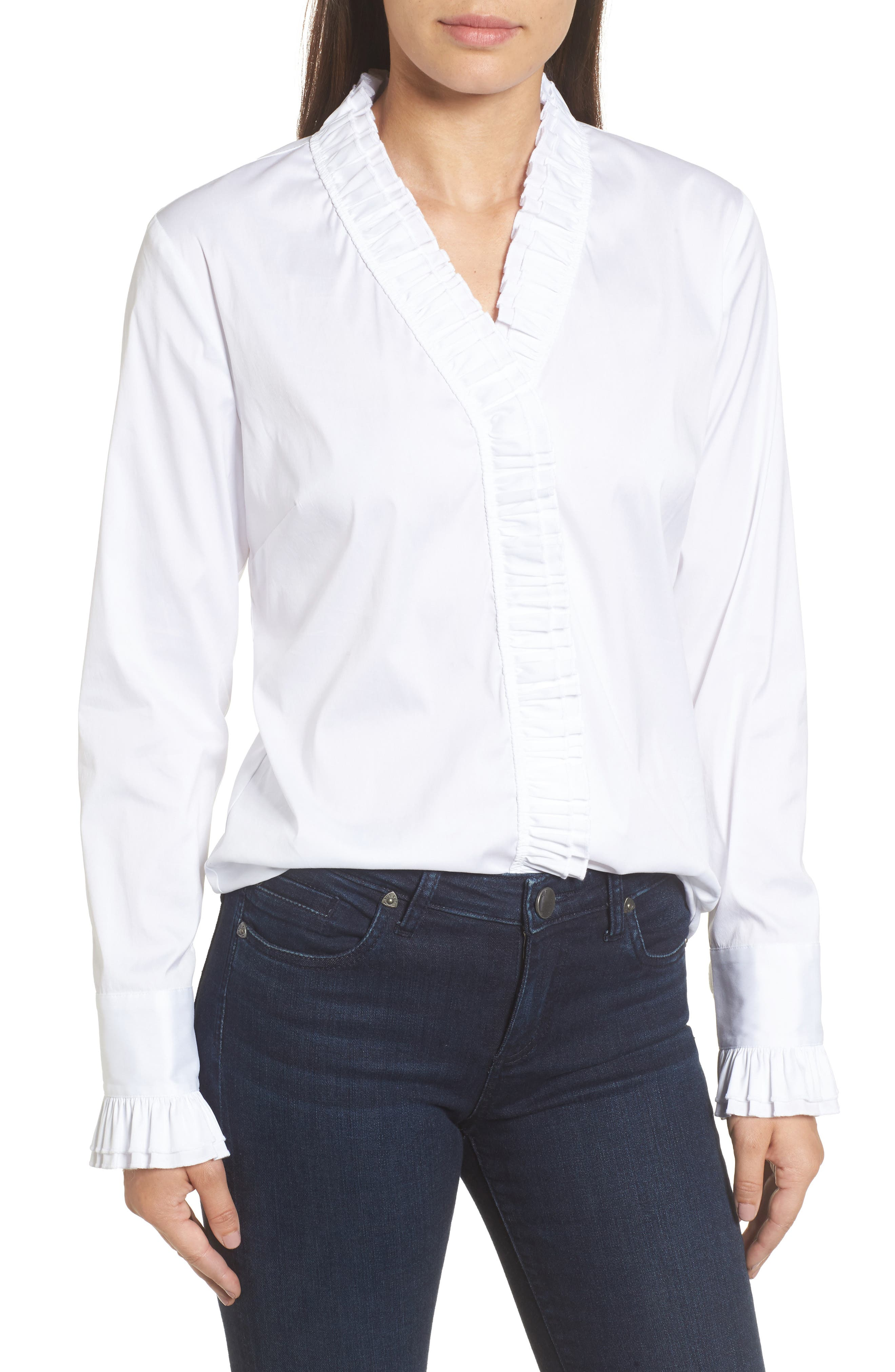 Ruffle Front Blouse,                         Main,                         color, White