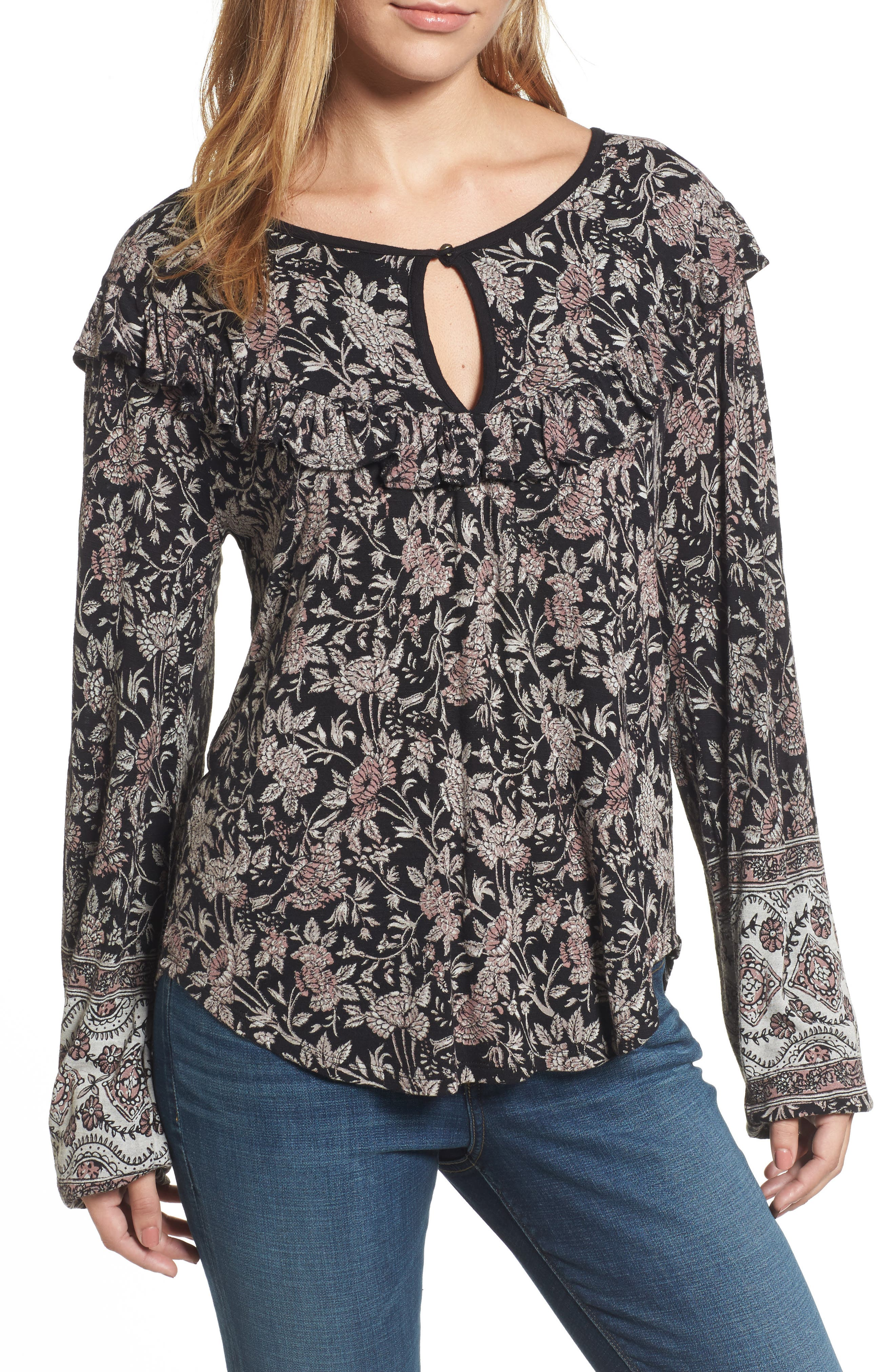 Alternate Image 1 Selected - Lucky Brand Mixed Floral Ruffle Top