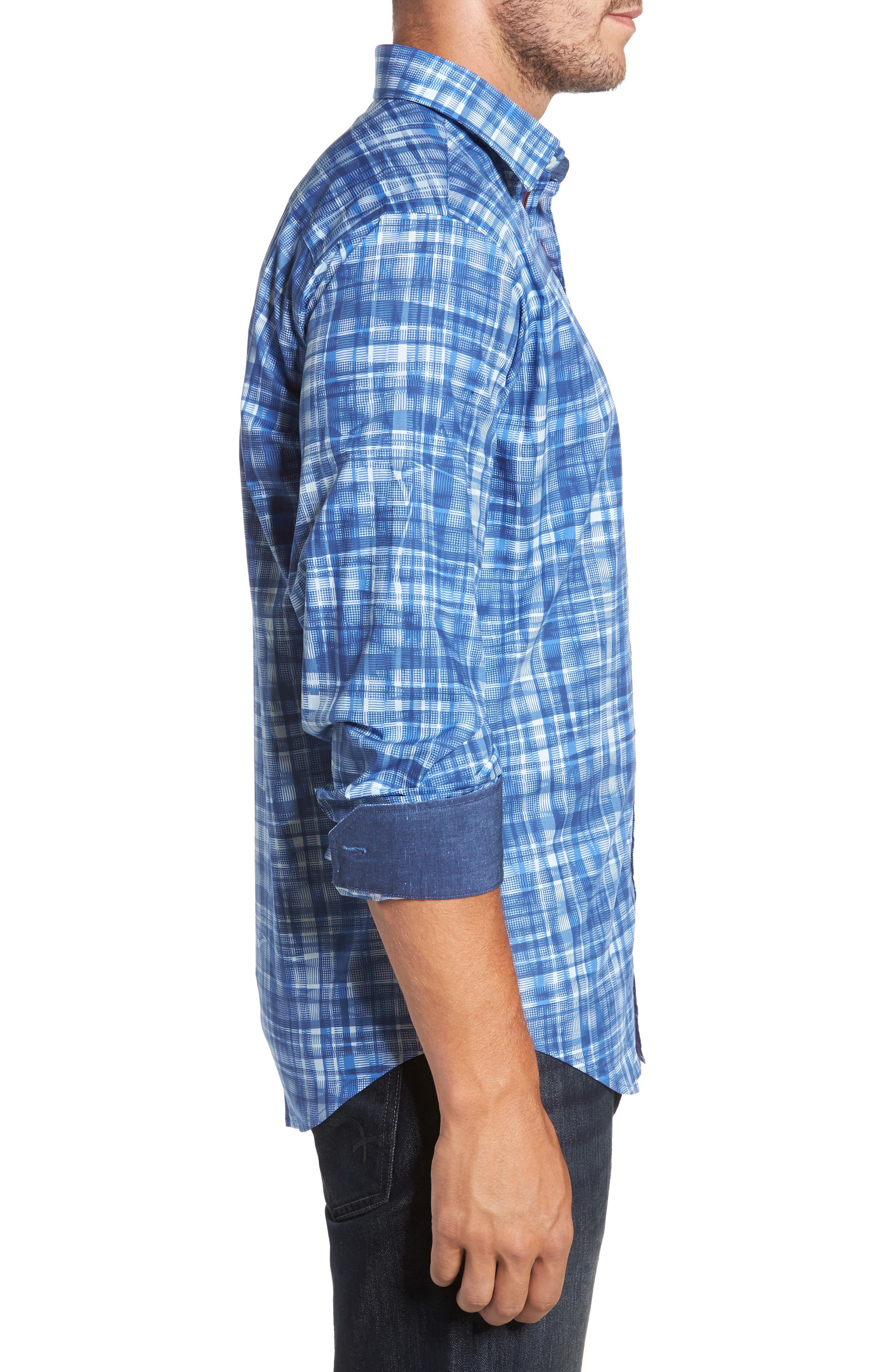 Classic Fit Abstract Plaid Sport Shirt,                             Alternate thumbnail 3, color,                             Classic Blue