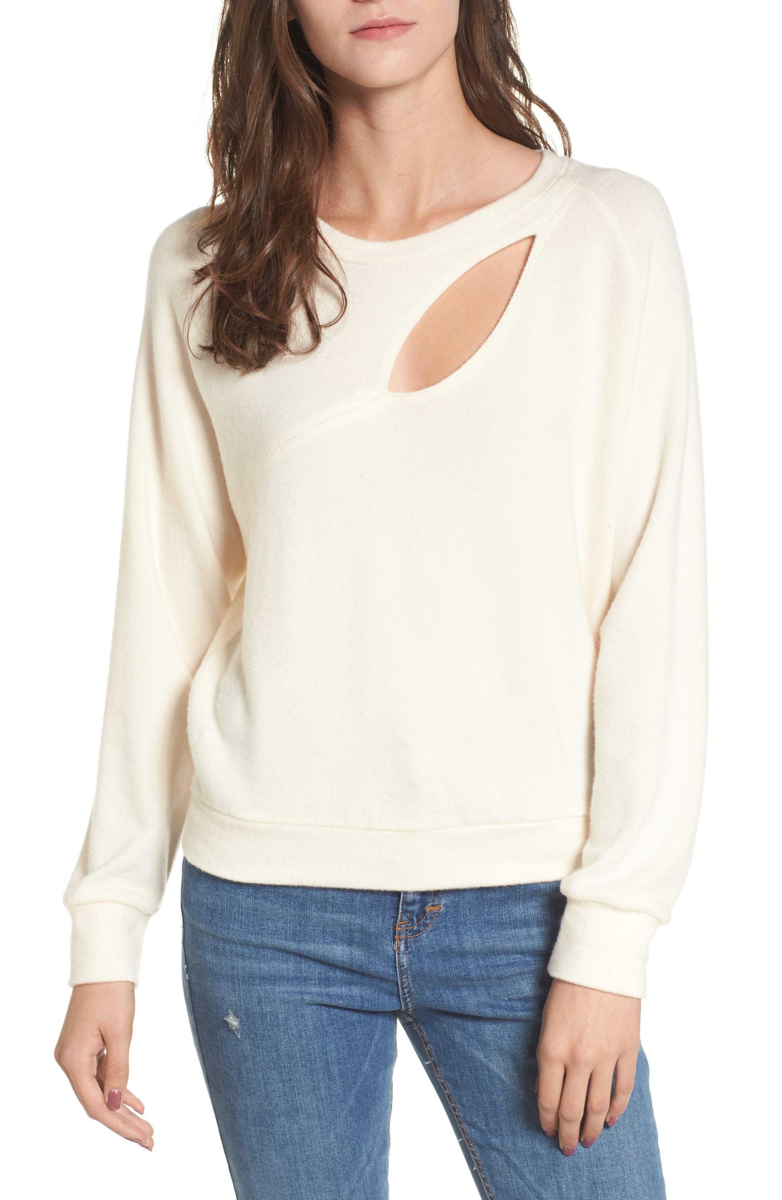 Alternate Image 1 Selected - LNA Phased Brushed Cutout Sweater